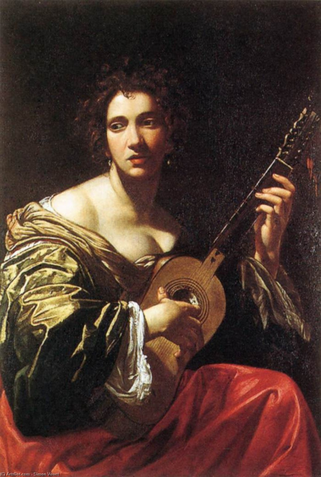 Woman Playing the Guitar, Oil On Canvas by Simon Vouet (1590-1649, France)
