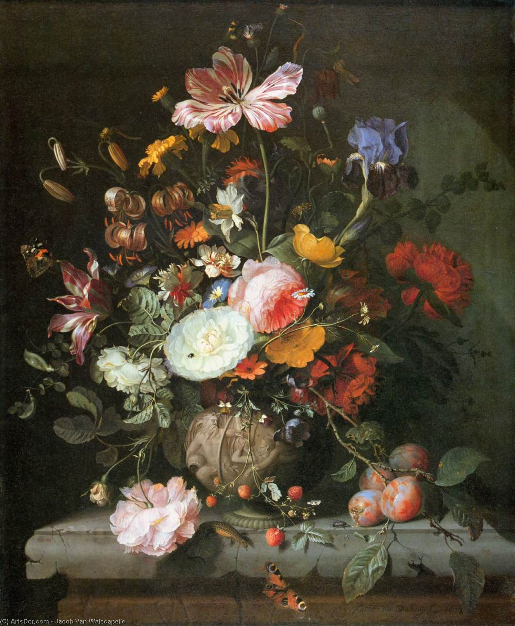 Flowers in a Stone Vase, Oil On Canvas by Jacob Van Walscapelle (1644-1727, Netherlands)