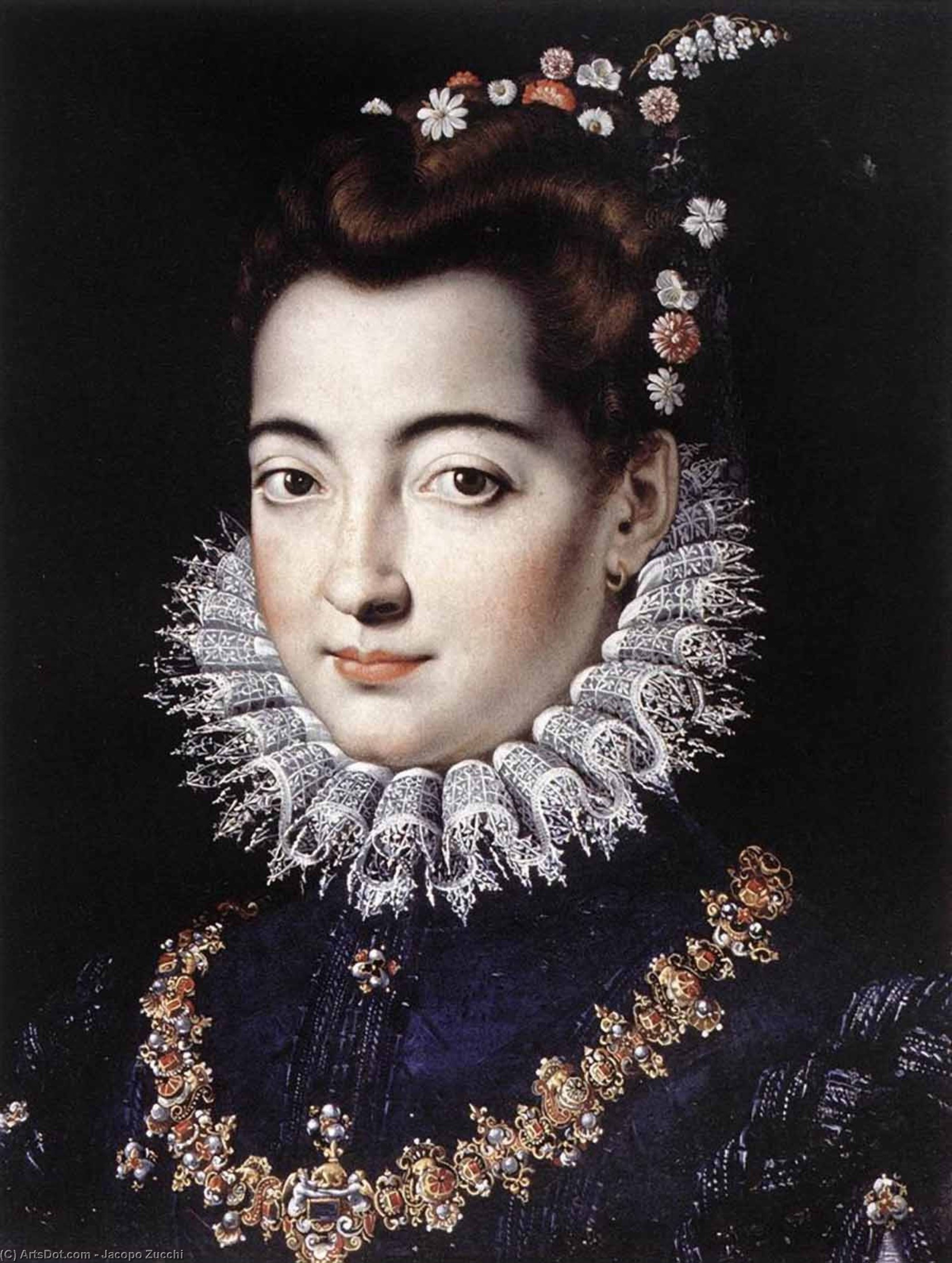 Portrait of a Lady, 1570 by Jacopo Zucchi (1542-1596, Italy) | Art Reproductions Jacopo Zucchi | ArtsDot.com