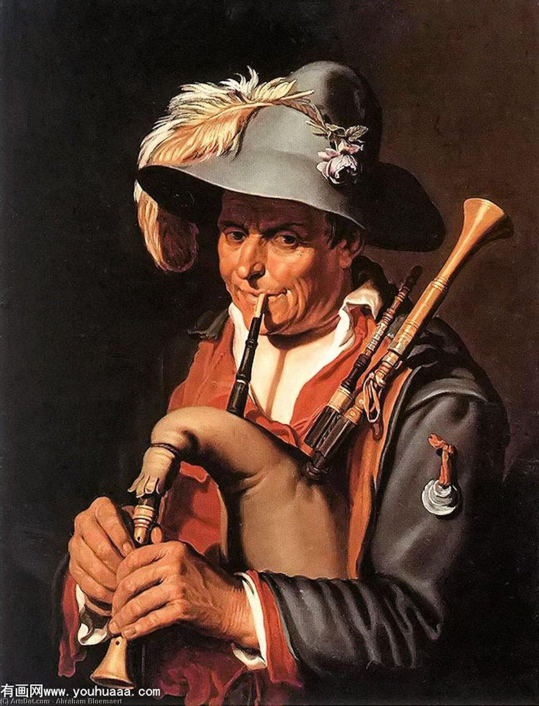 The Bagpiper, Oil On Canvas by Abraham Bloemaert (1564-1651, Netherlands)