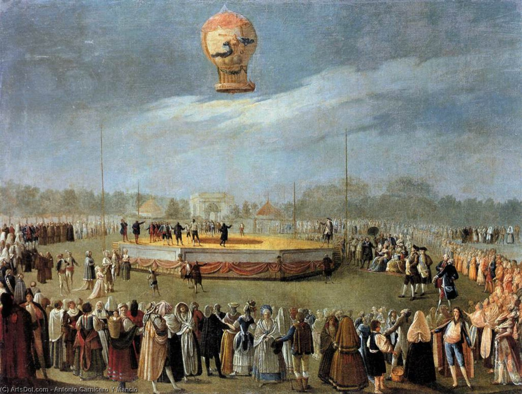 Ascent of the Balloon in the Presence of Charles IV and his Court, 1783 by Antonio Carnicero Y Mancio (1748-1814, Spain) | Painting Copy | ArtsDot.com
