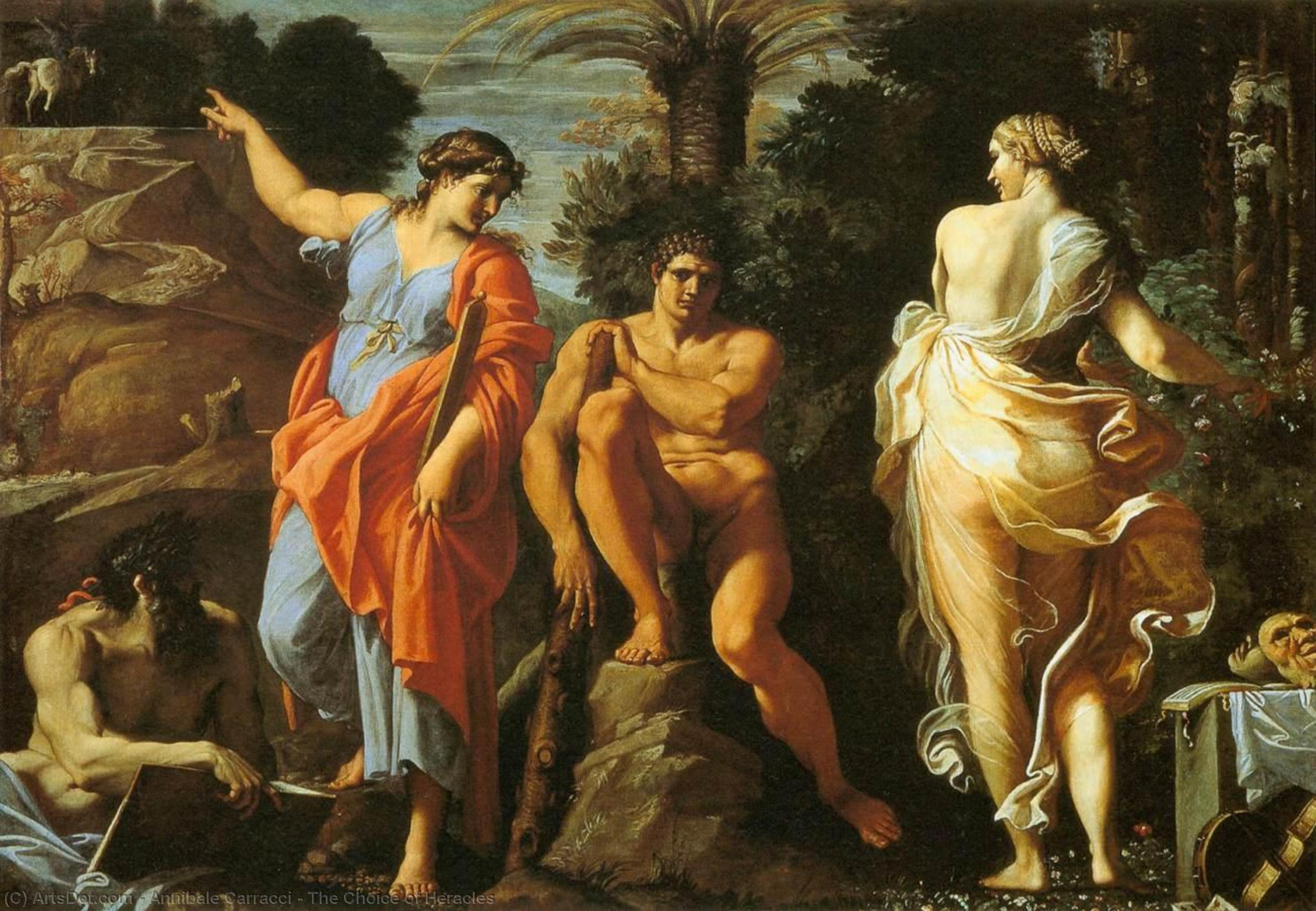 The Choice of Heracles, 1596 by Annibale Carracci (1560-1609, Italy) | Art Reproductions Annibale Carracci | ArtsDot.com