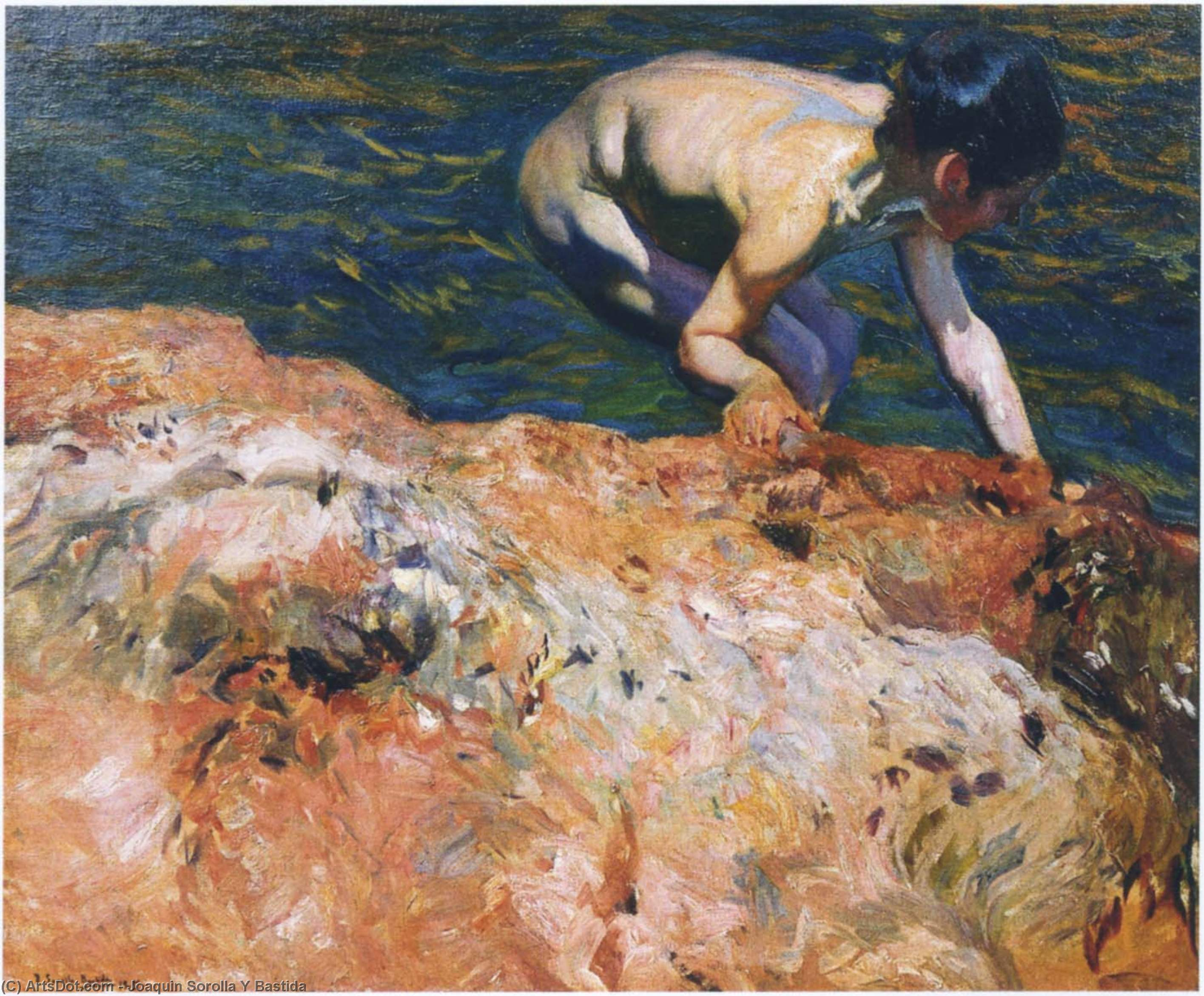 Looking for Shellfish, Oil On Canvas by Joaquin Sorolla Y Bastida (1863-1923, Spain)