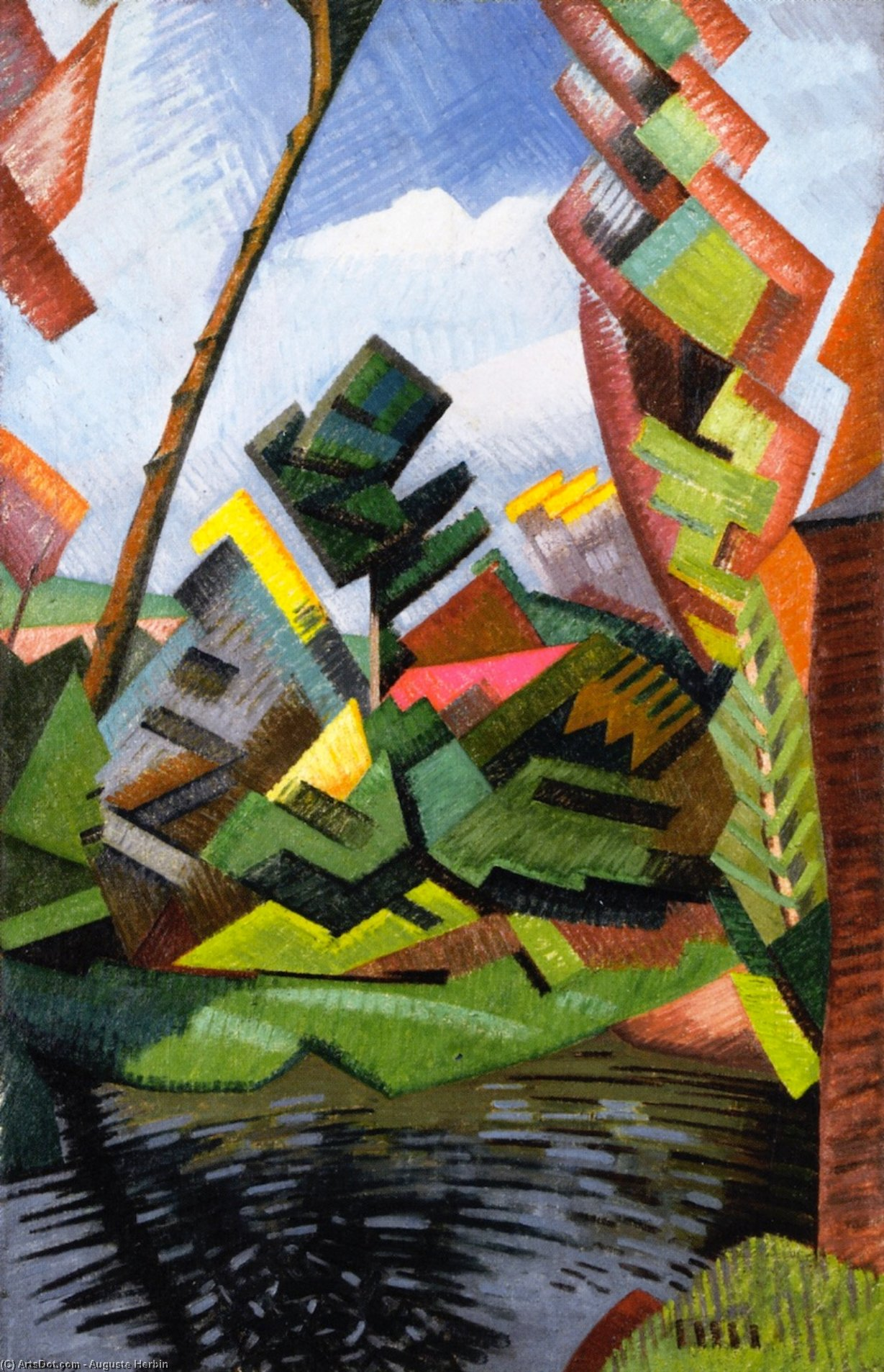 Mill at Saint Bénin, Oil On Canvas by Auguste Herbin (1882-1960, United States)