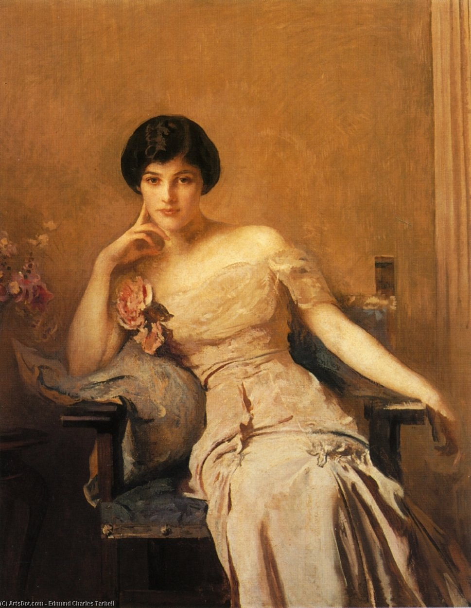 Mrs. John Lawrence, Oil On Canvas by Edmund Charles Tarbell (1862-1938, United States)