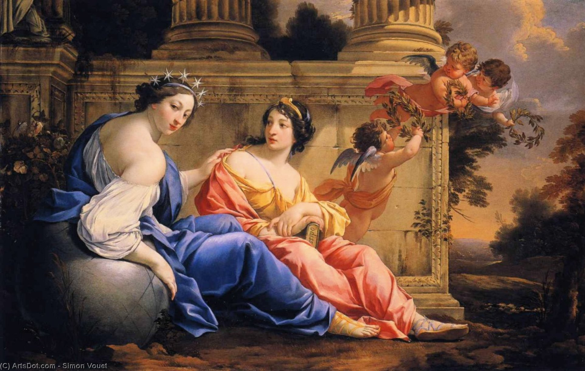 The Muses Urania and Calliope, Oil On Canvas by Simon Vouet (1590-1649, France)