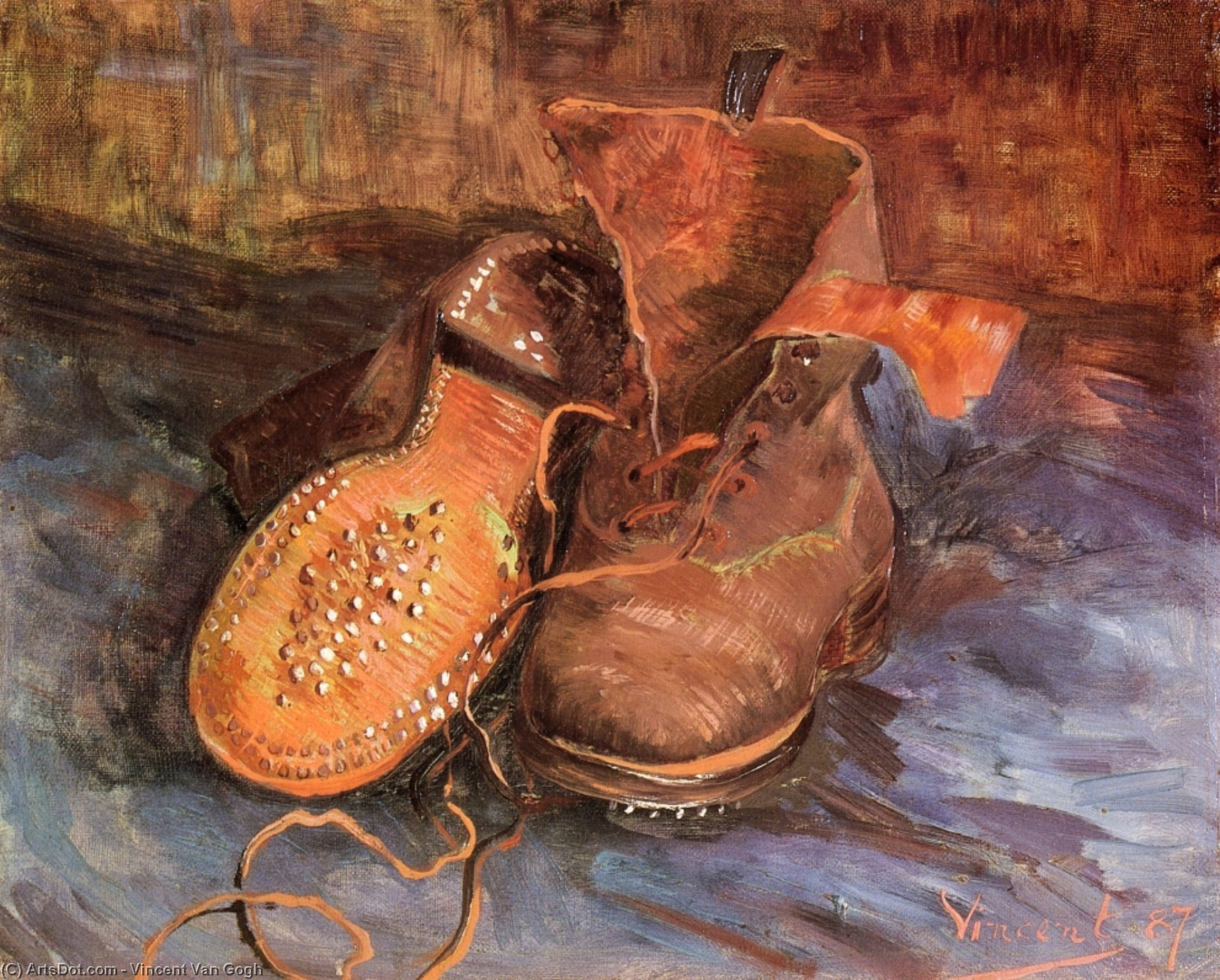 A Pair of Shoes, 1887 by Vincent Van Gogh (1853-1890, Netherlands) | Oil Painting | ArtsDot.com