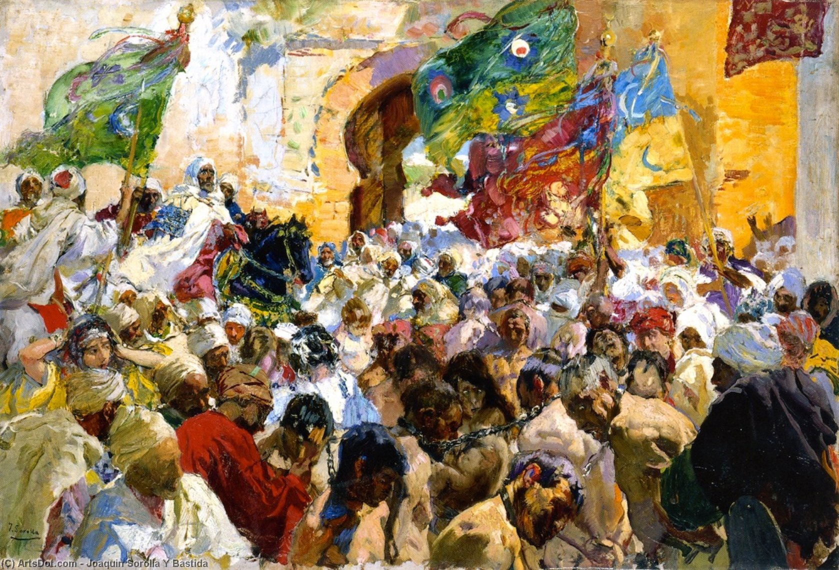 Parade of the Troops and Slaves at the Gates of the City, Oil On Panel by Joaquin Sorolla Y Bastida (1863-1923, Spain)