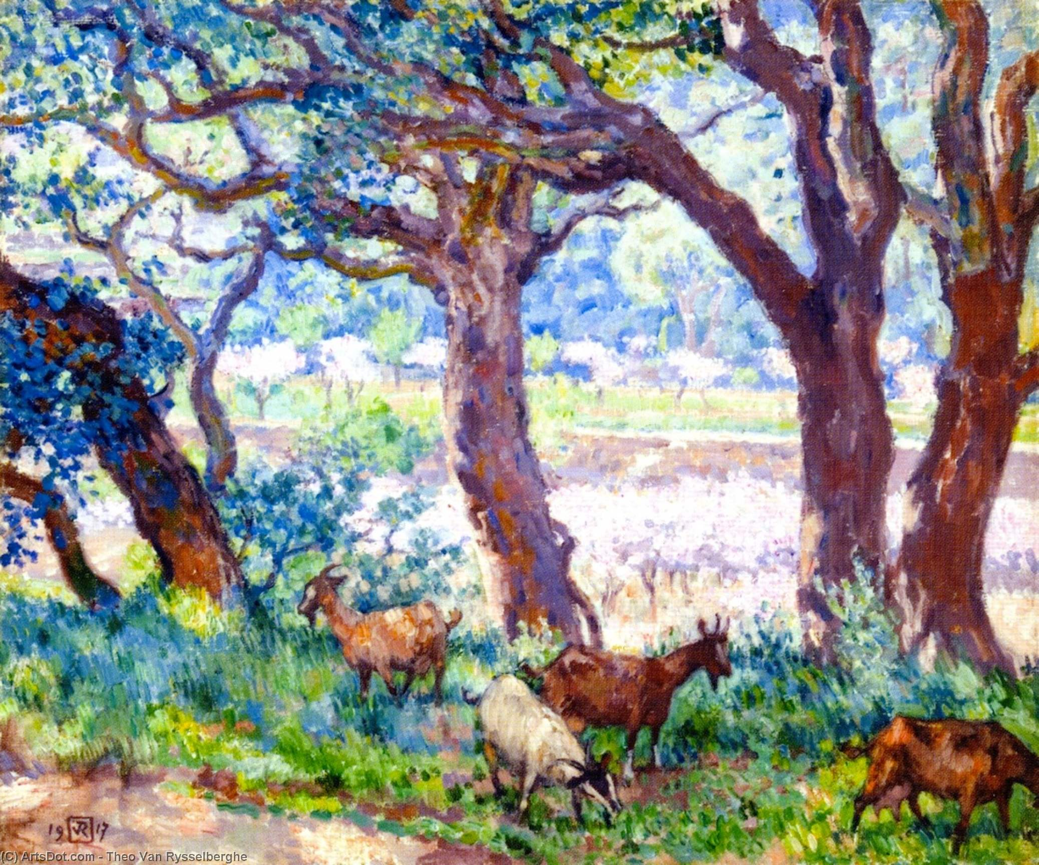 Peach Trees in Blossom, Cork Oaks and Goats, 1917 by Theo Van Rysselberghe (1862-1926, Belgium) | ArtsDot.com
