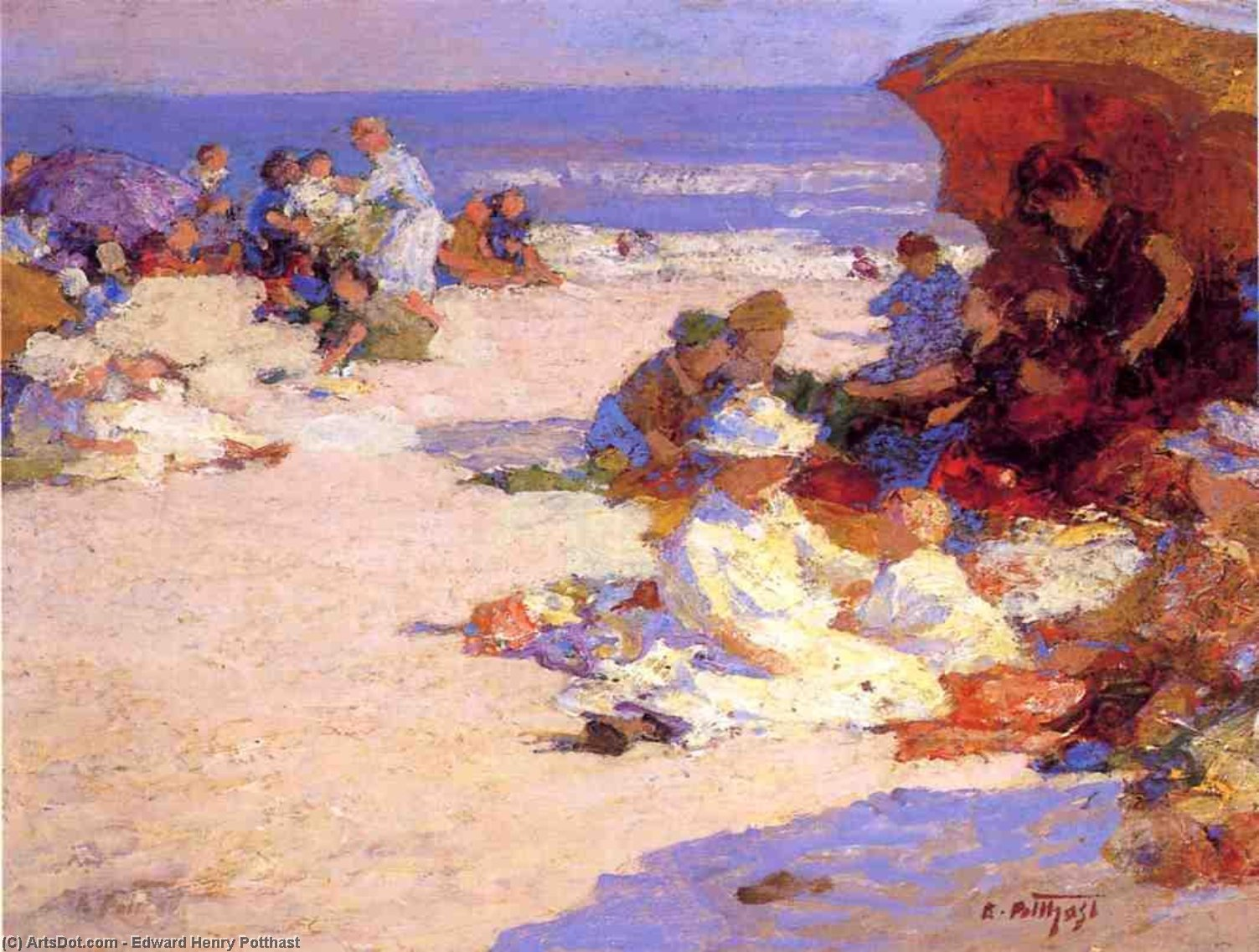 Picknickers on the Beach by Edward Henry Potthast (1857-1927, United States) | Art Reproductions Edward Henry Potthast | ArtsDot.com