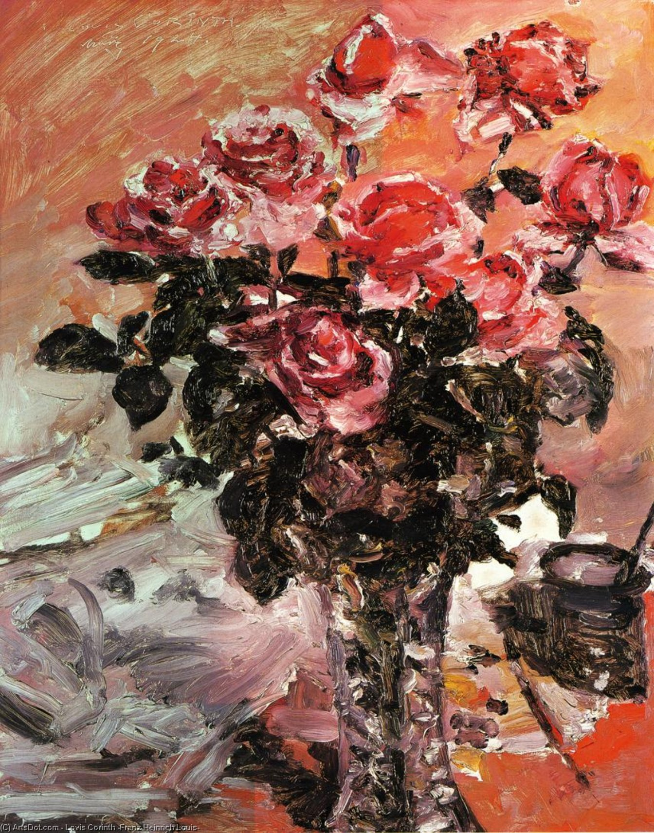 Pink Roses, Painting by Lovis Corinth (Franz Heinrich Louis) (1858-1925, Netherlands)