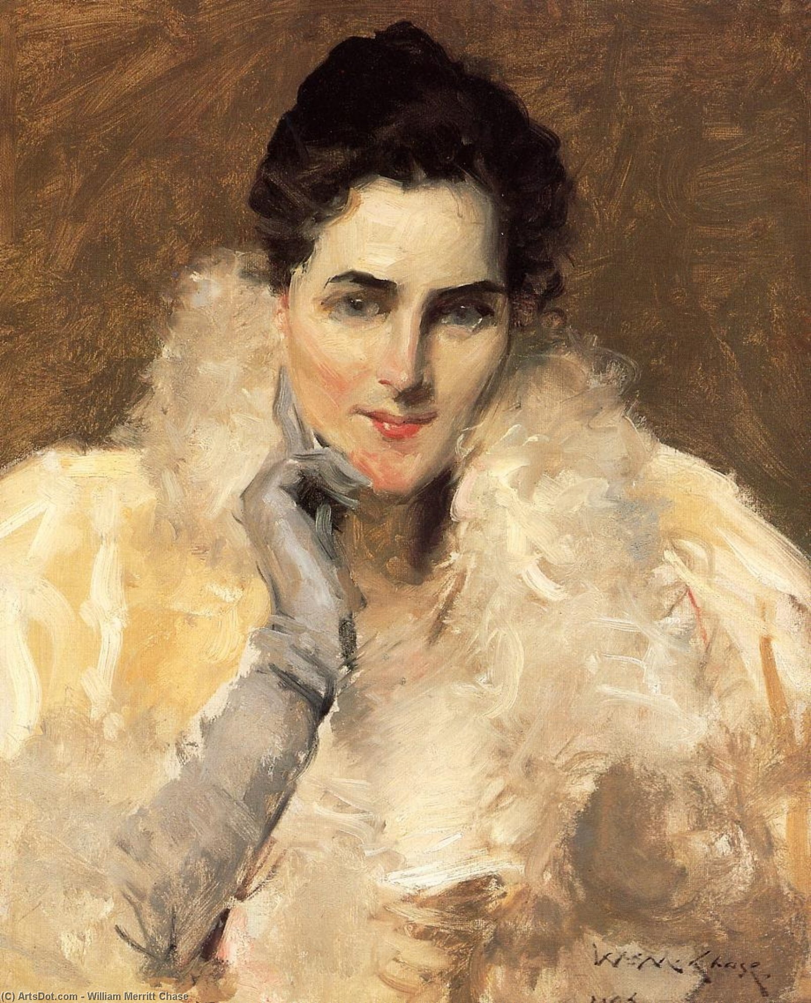 Portrait of a Lady, Oil On Canvas by William Merritt Chase (1849-1916, United States)