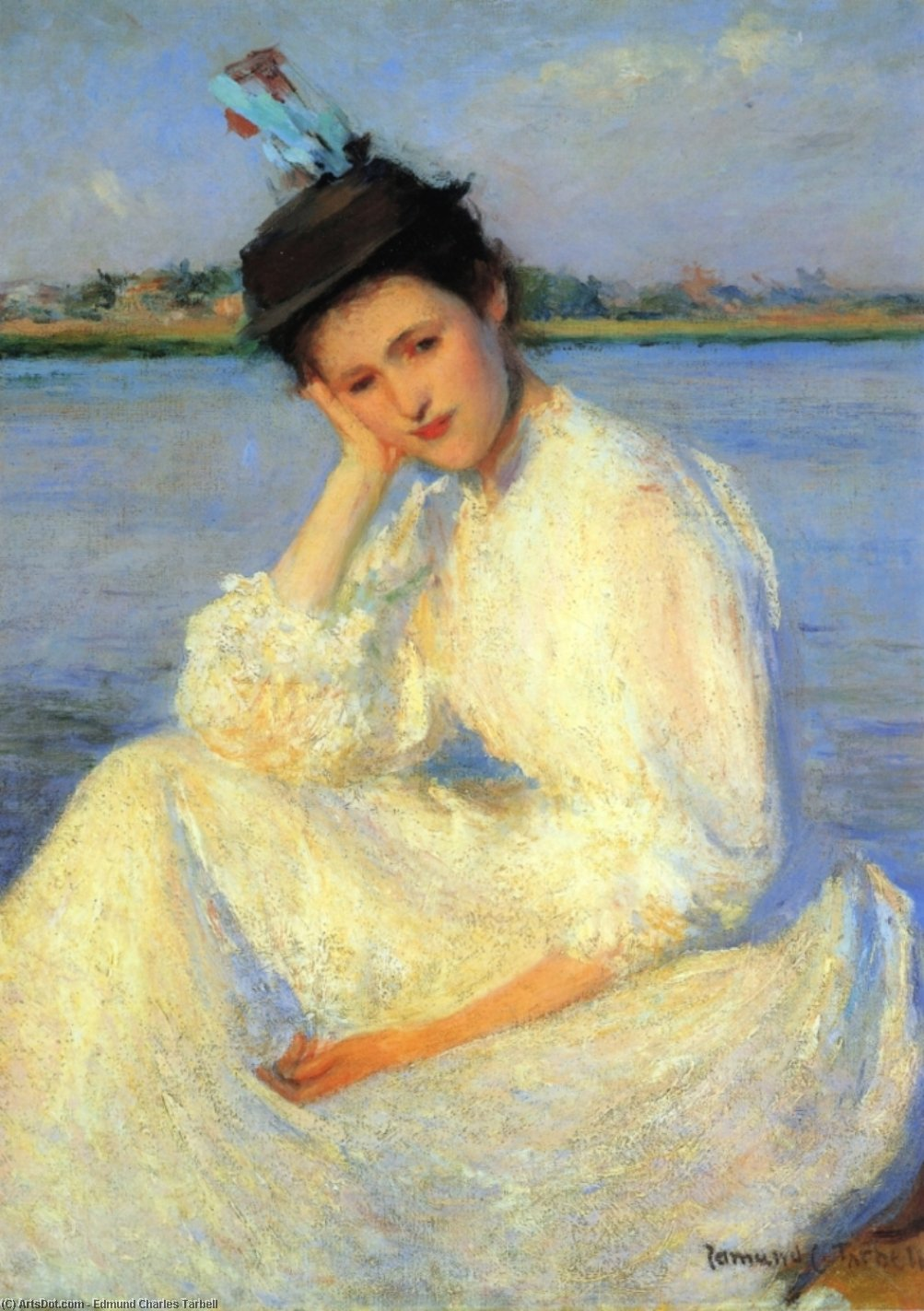 Portrait of a Lady, Oil On Canvas by Edmund Charles Tarbell (1862-1938, United States)