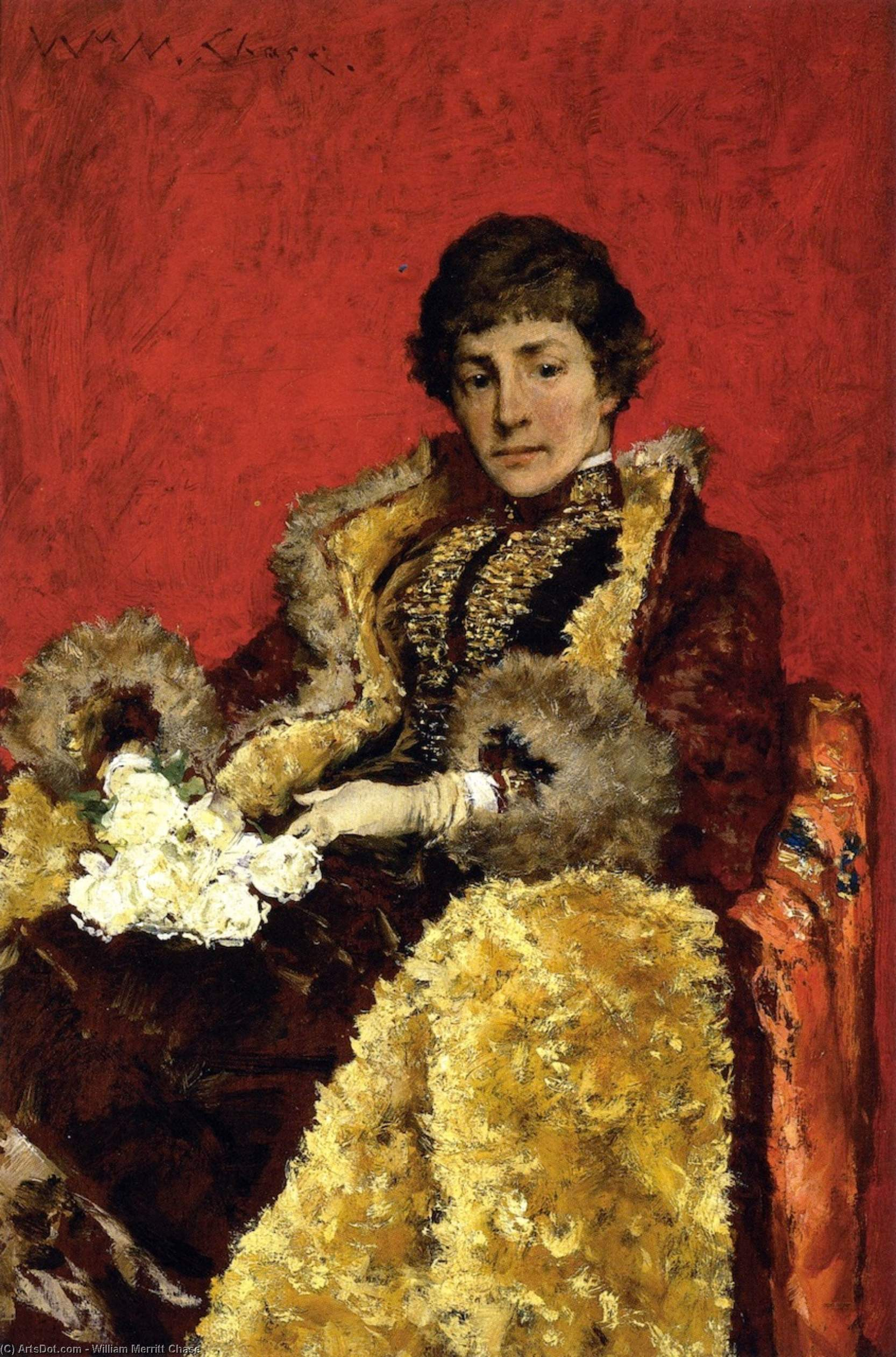 Portrait of Mrs. H. (also known as Portrait of Mrs. Howell), Oil On Panel by William Merritt Chase (1849-1916, United States)