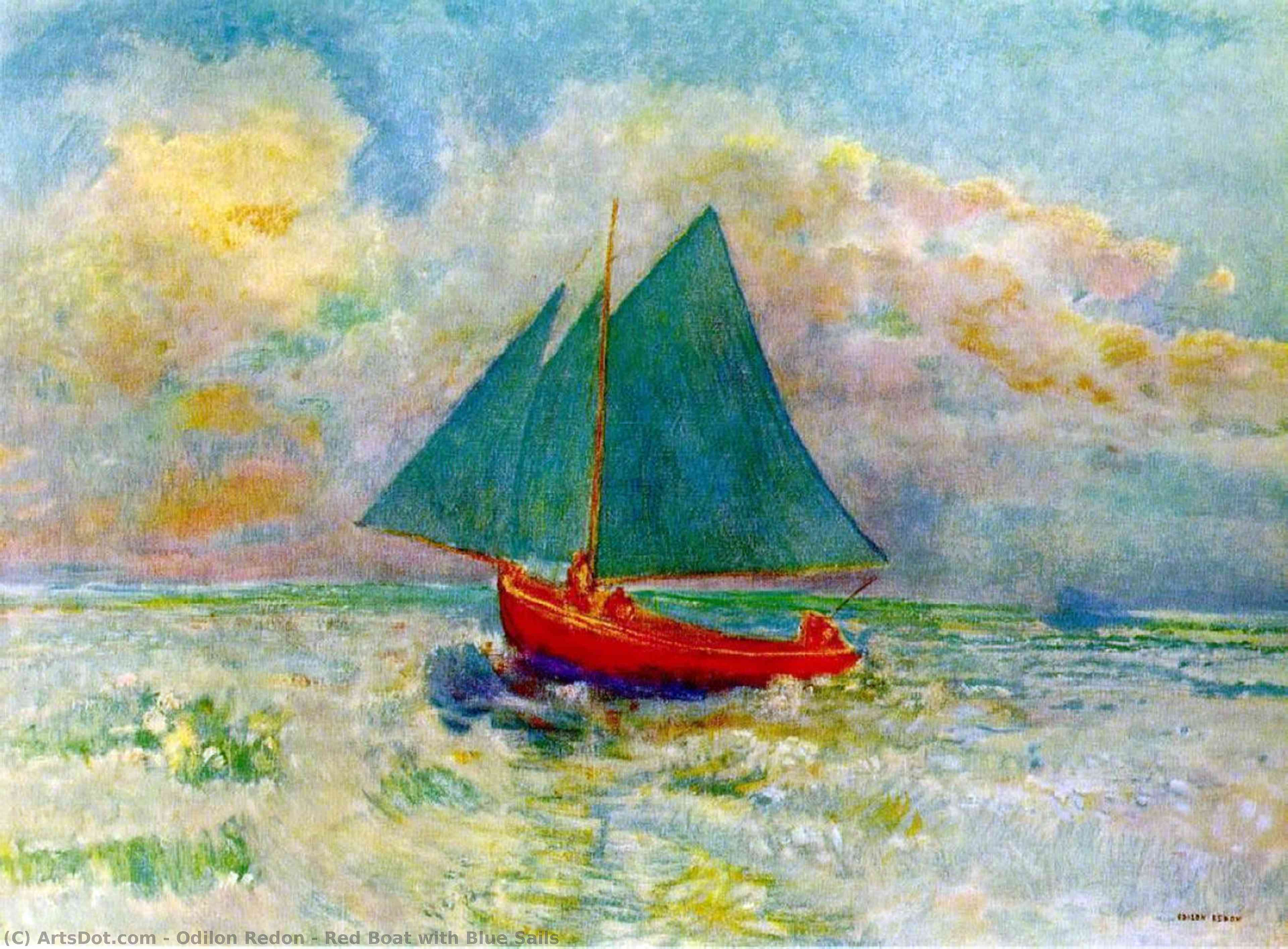 Red Boat with Blue Sails, 1907 by Odilon Redon (1840-1916, France) | Museum Art Reproductions | ArtsDot.com