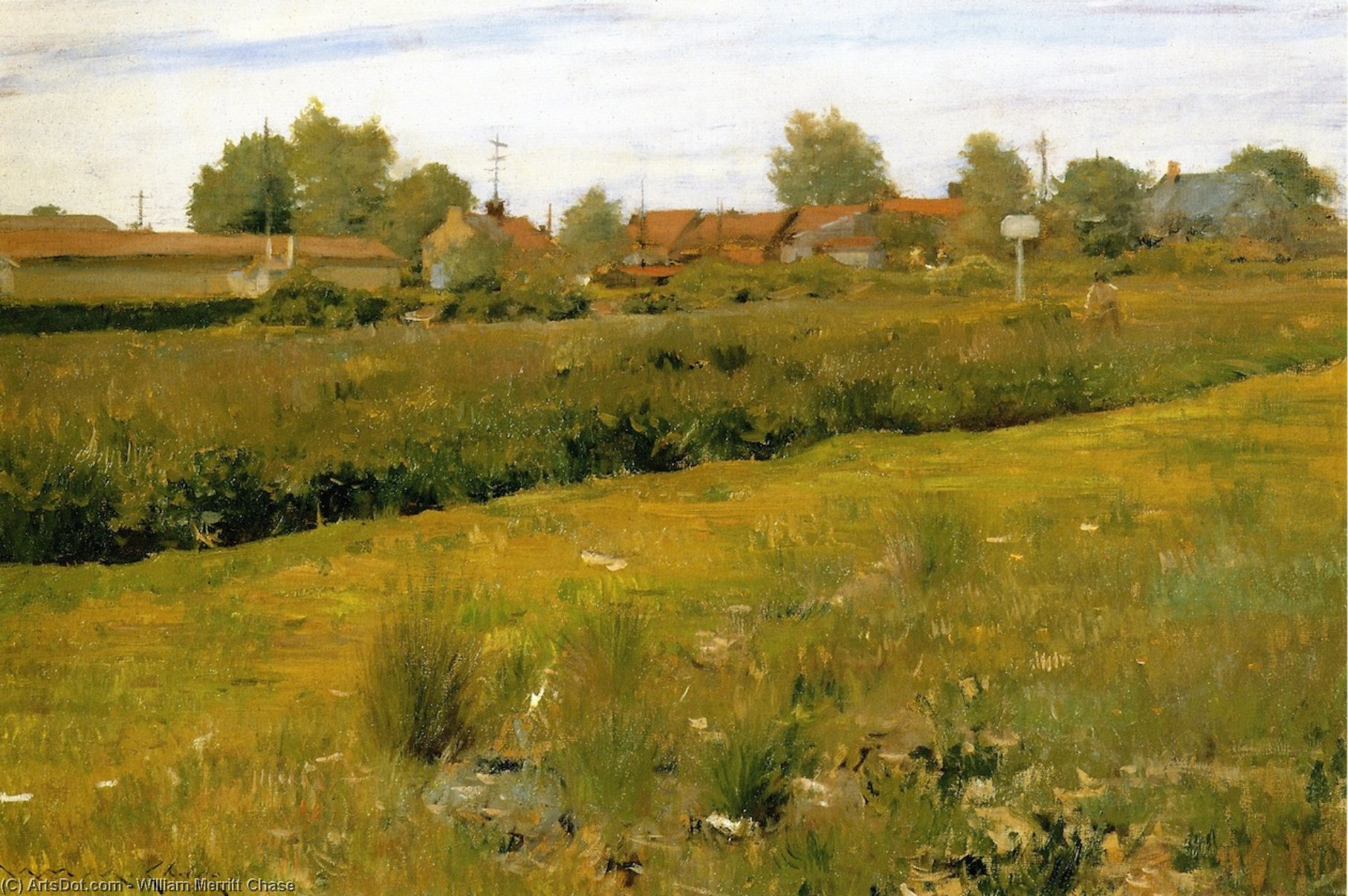 Red Roofs of Bristol, Pennsylvania, Oil On Canvas by William Merritt Chase (1849-1916, United States)