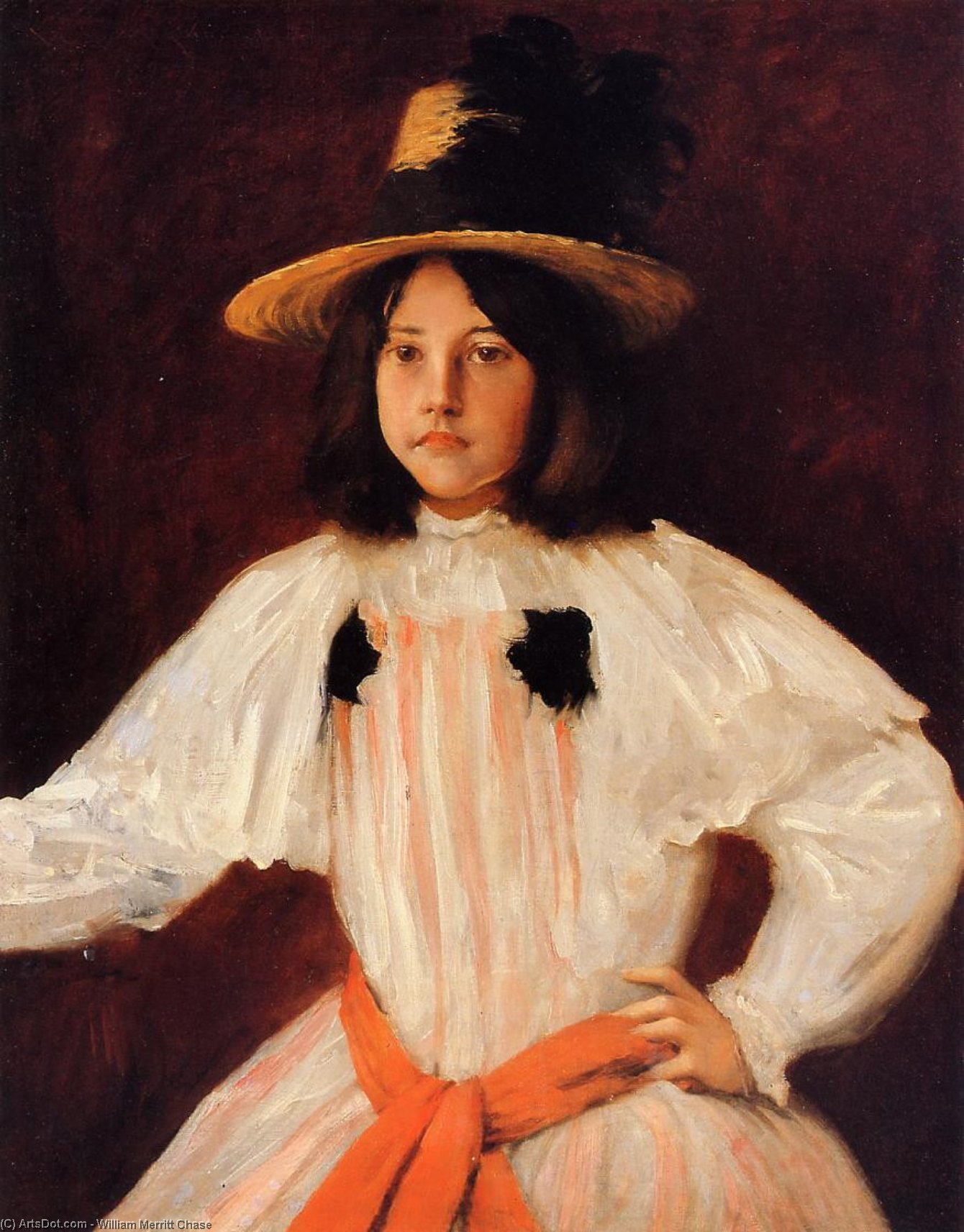 The Red Sash (also known as Portrait of the Artist's Daughter), Oil On Canvas by William Merritt Chase (1849-1916, United States)