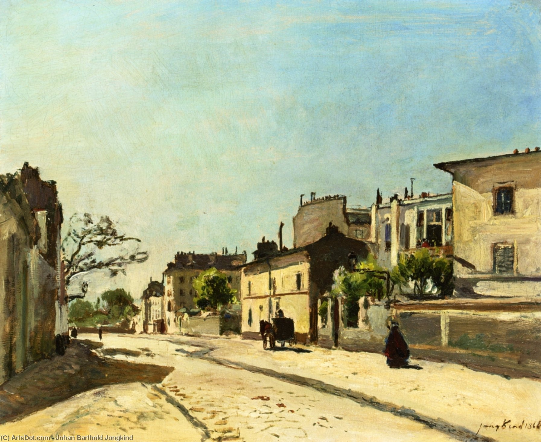 Rue Notre Dame, Paris, Oil On Canvas by Johan Barthold Jongkind (1819-1891, Netherlands)