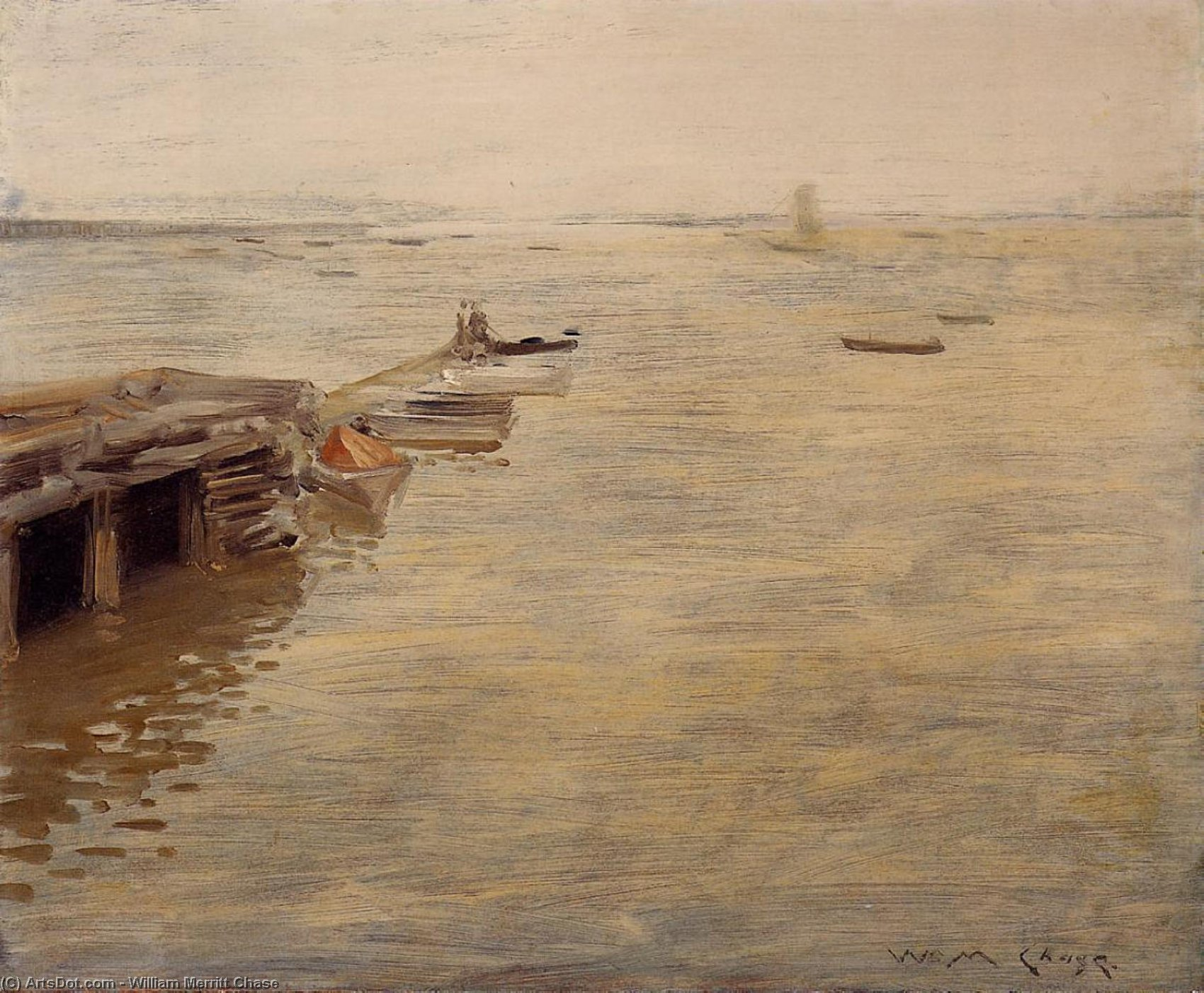 Seashore (also known as A Grey Day), Oil On Panel by William Merritt Chase (1849-1916, United States)