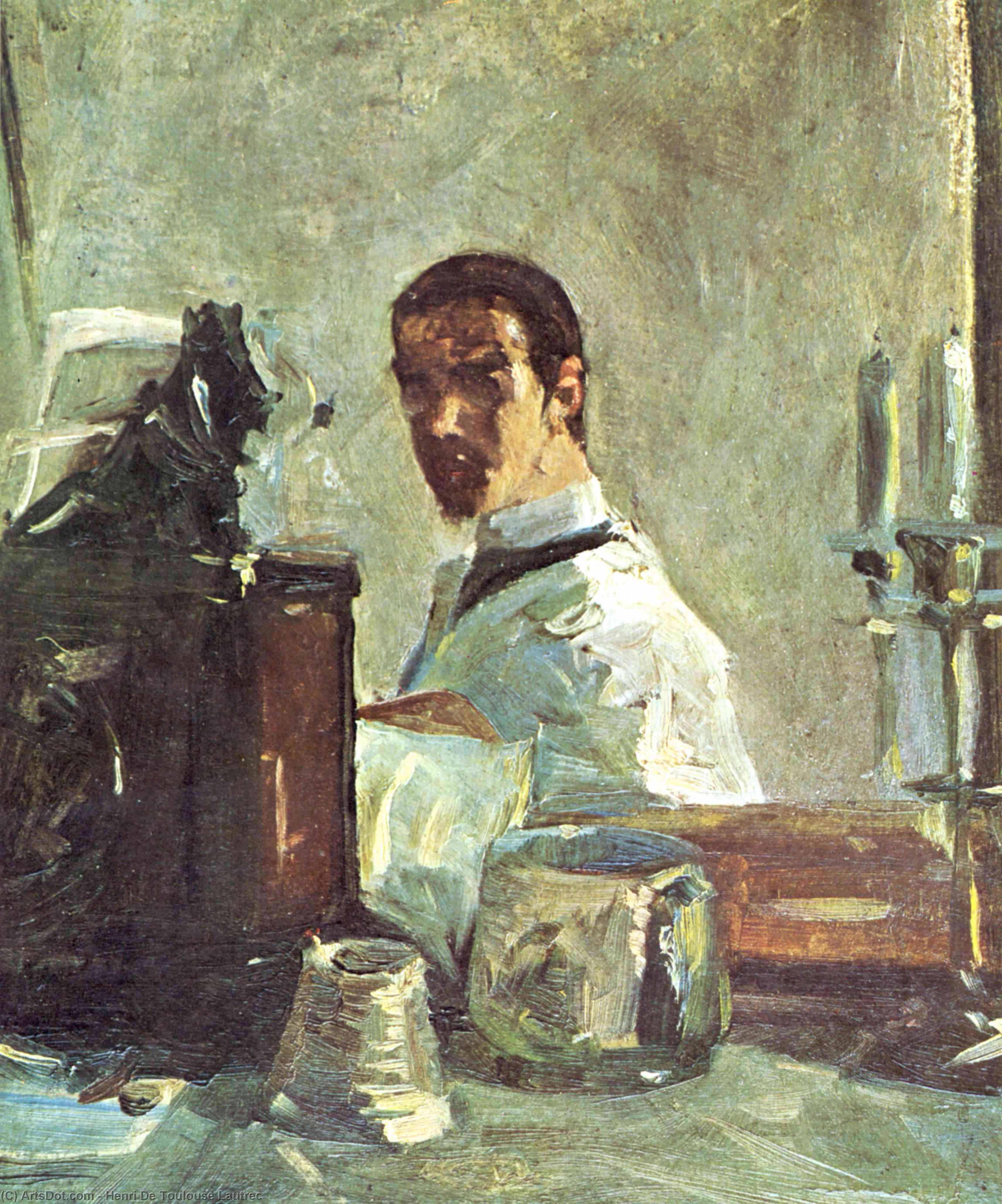 Self-portrait in front of a mirror, 1883 by Henri De Toulouse Lautrec (1864-1901, France)