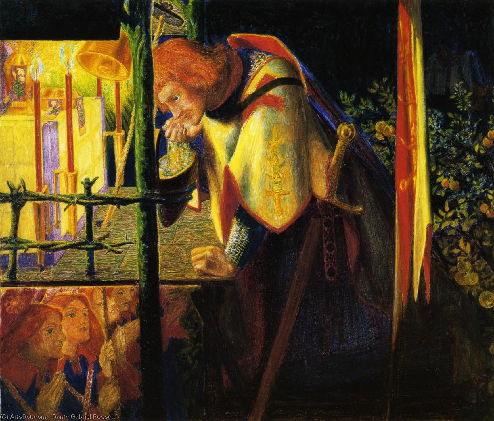 Sir Galahad at the Ruined Chapel, Watercolour by Dante Gabriel Rossetti (1828-1882, United Kingdom)