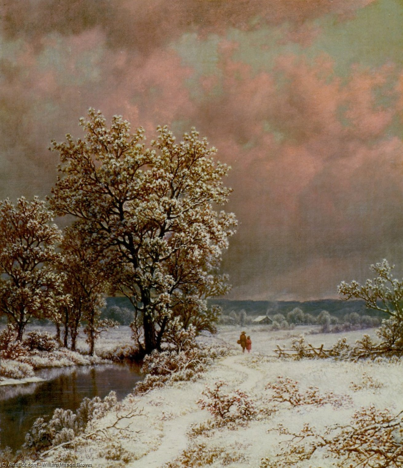 Snow Scene, Oil On Canvas by William Mason Brown (1828-1898, United States)