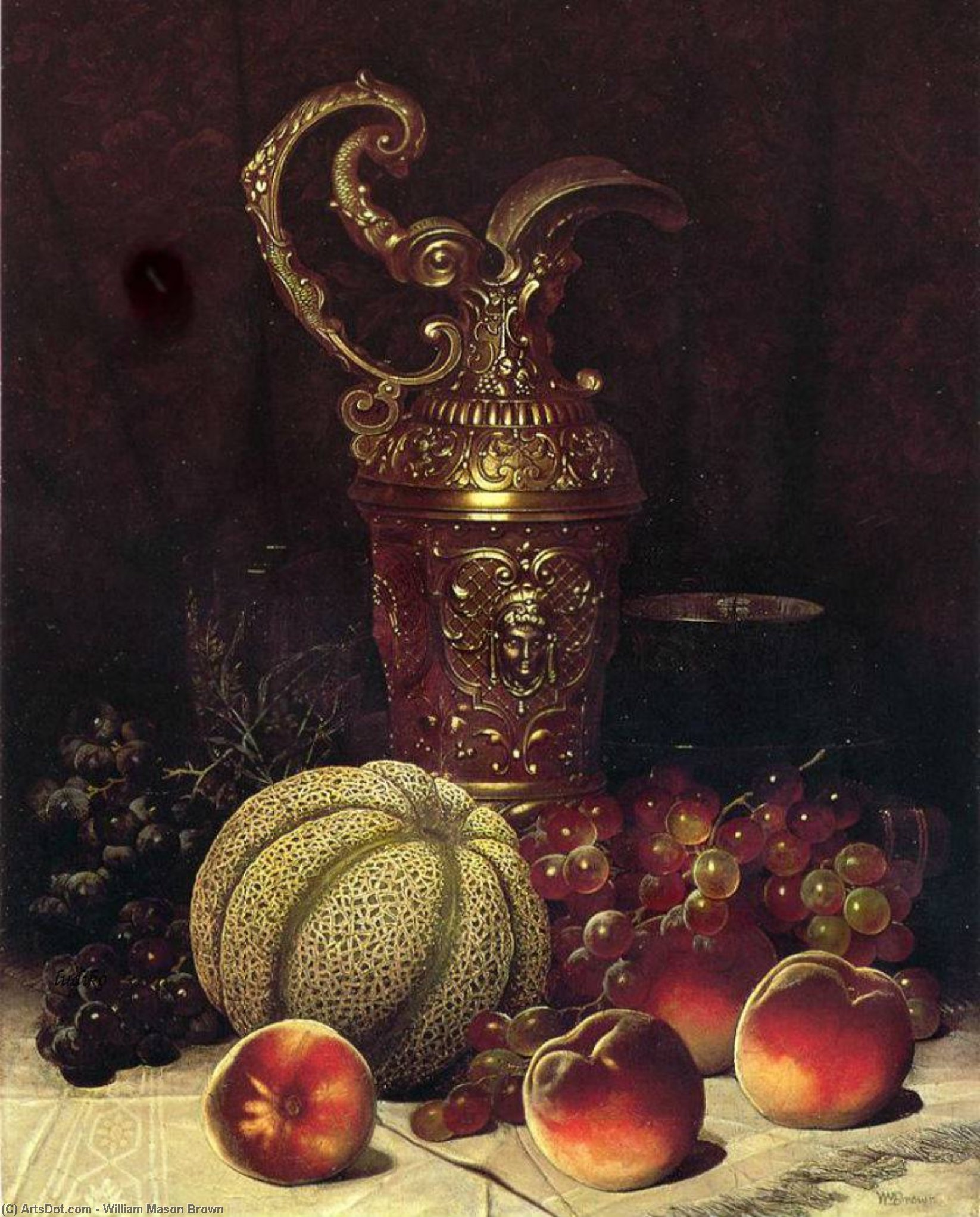 Still Life (also known as Fruit and Art Objects), Oil On Canvas by William Mason Brown (1828-1898, United States)