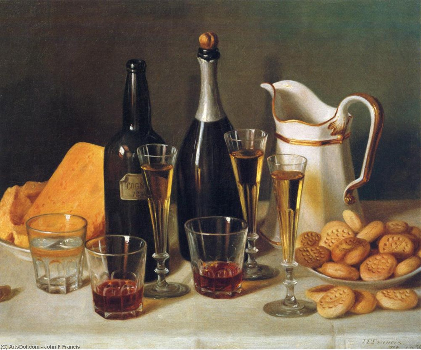 Still Life: Cognac and Biscuits, Oil On Canvas by John F Francis (1905-1990, United States)