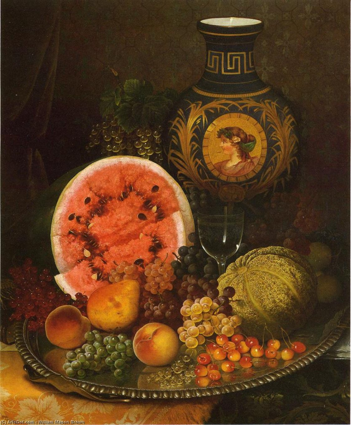 Still Life with Fruit and Vase, Oil On Canvas by William Mason Brown (1828-1898, United States)