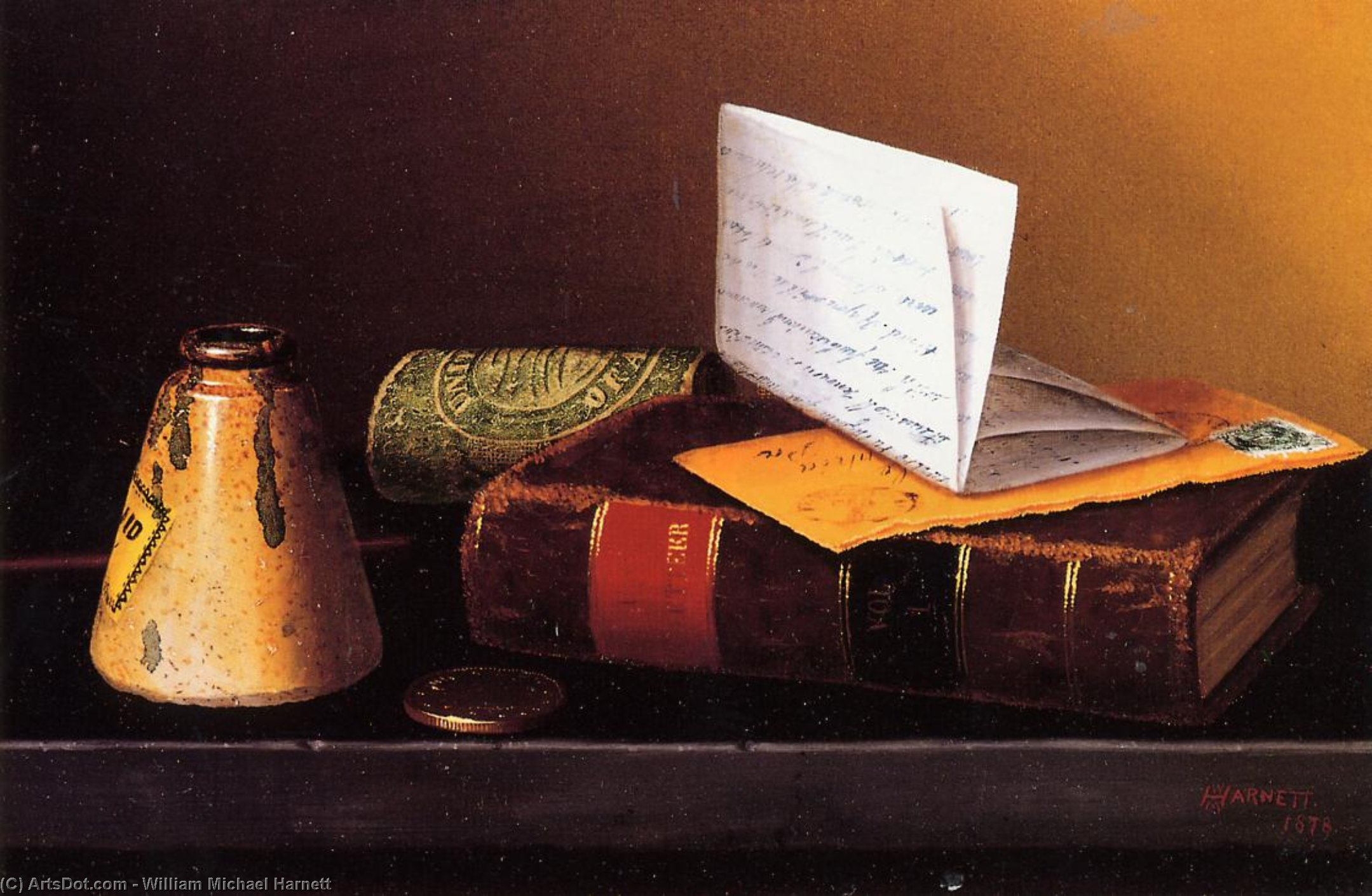 Still Life with Ink Bottle, Book and Letter (also known as Still Life with Universal Gazetteer), Oil On Canvas by William Michael Harnett (1848-1892, Ireland)