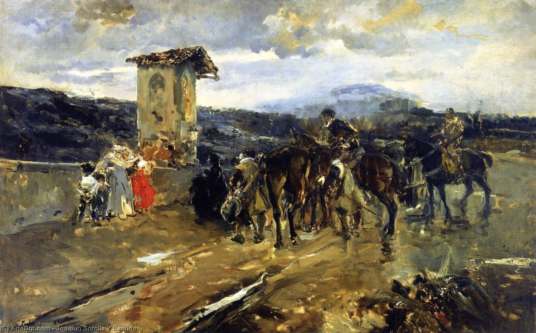 Stopping along the Way, Scene from Don Quixote, Oil On Canvas by Joaquin Sorolla Y Bastida (1863-1923, Spain)
