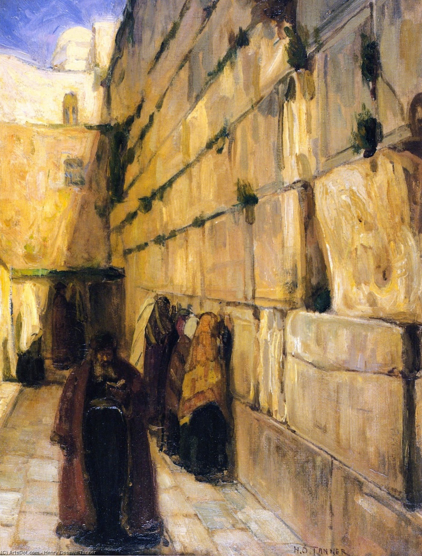 Study for The Jews' Wailing Place, Oil On Canvas by Henry Ossawa Tanner (1859-1937, United States)