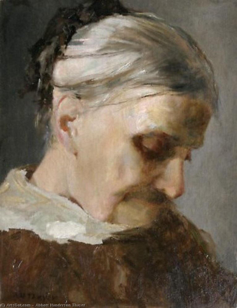 A Study of an Old Woman, 1890 by Abbott Handerson Thayer (1849-1921, United States)