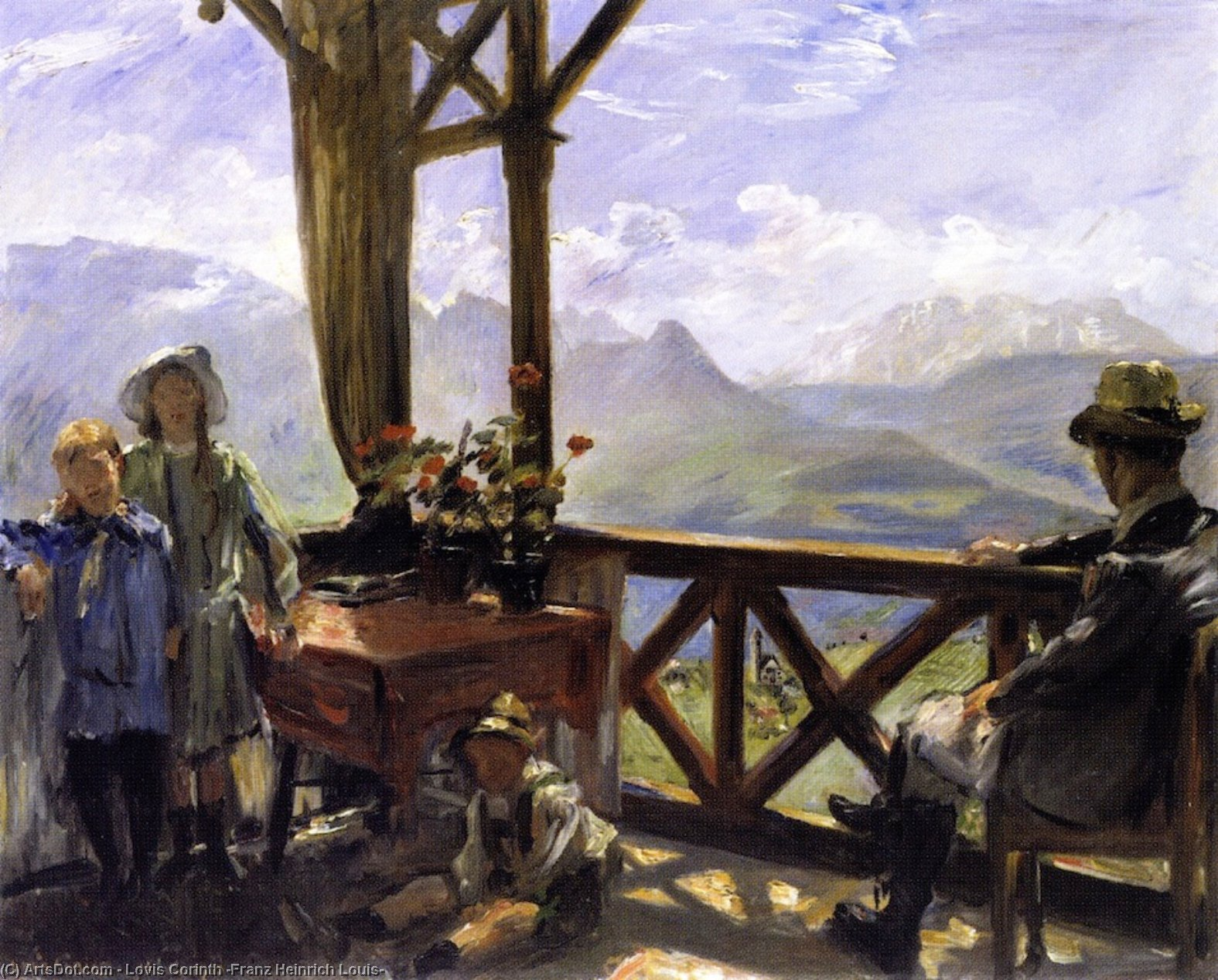 Terrace in Klobenstein, Tyrol, Oil On Canvas by Lovis Corinth (Franz Heinrich Louis) (1858-1925, Netherlands)
