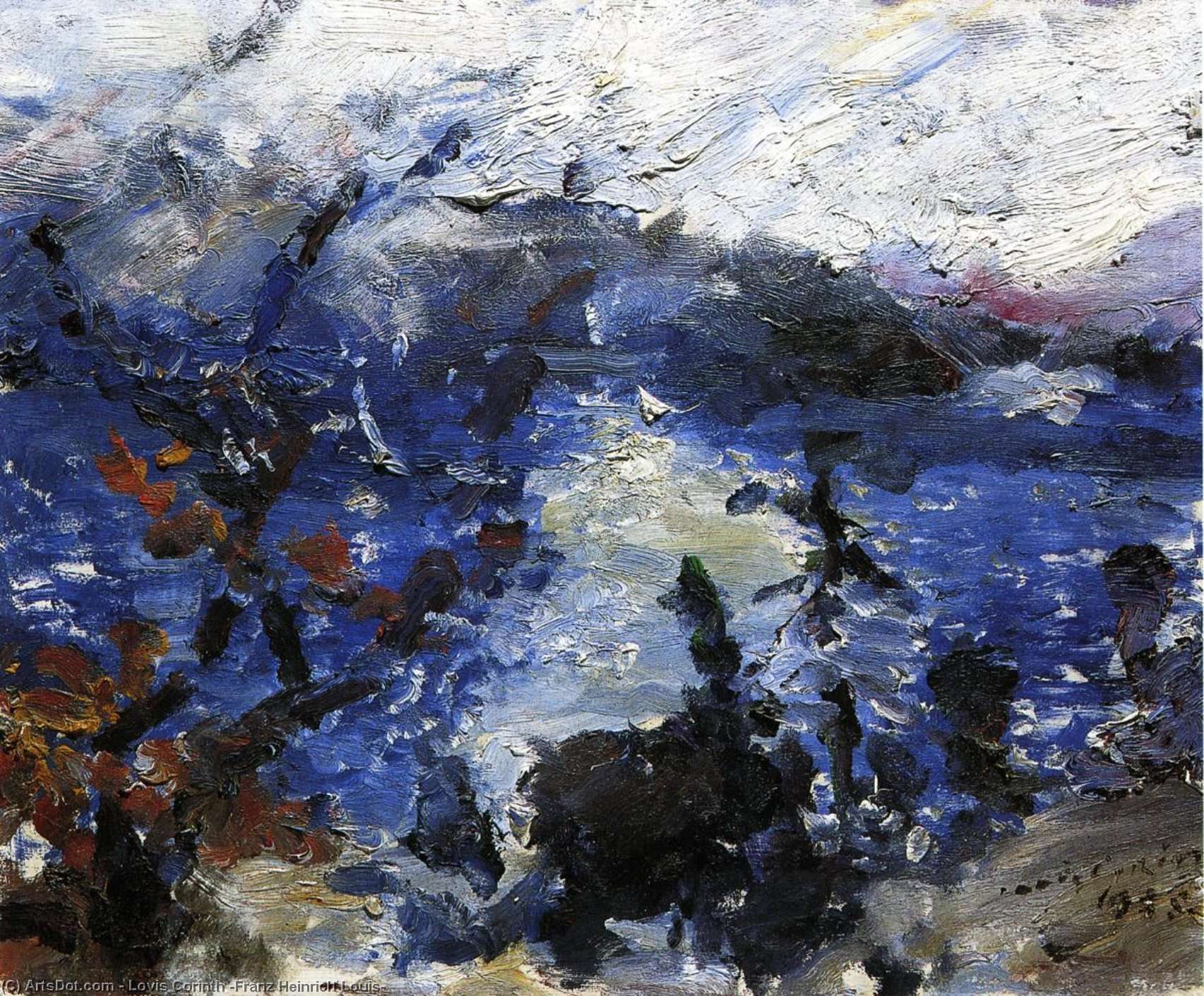The Walchensee, Mountains Wreathed in Cloud, Painting by Lovis Corinth (Franz Heinrich Louis) (1858-1925, Netherlands)
