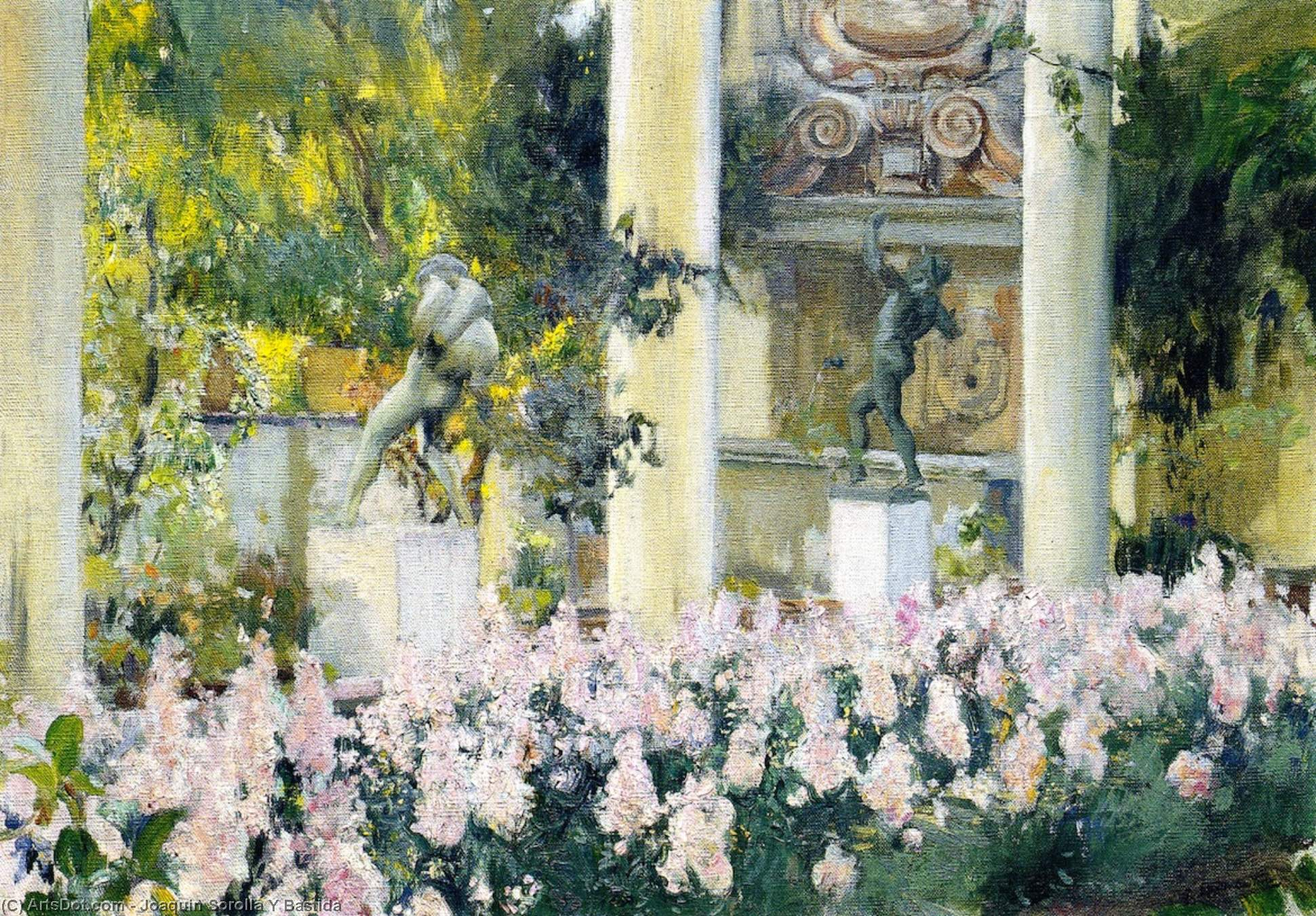 Wallflowers in the Garden of the Sololla House, Oil On Canvas by Joaquin Sorolla Y Bastida (1863-1923, Spain)