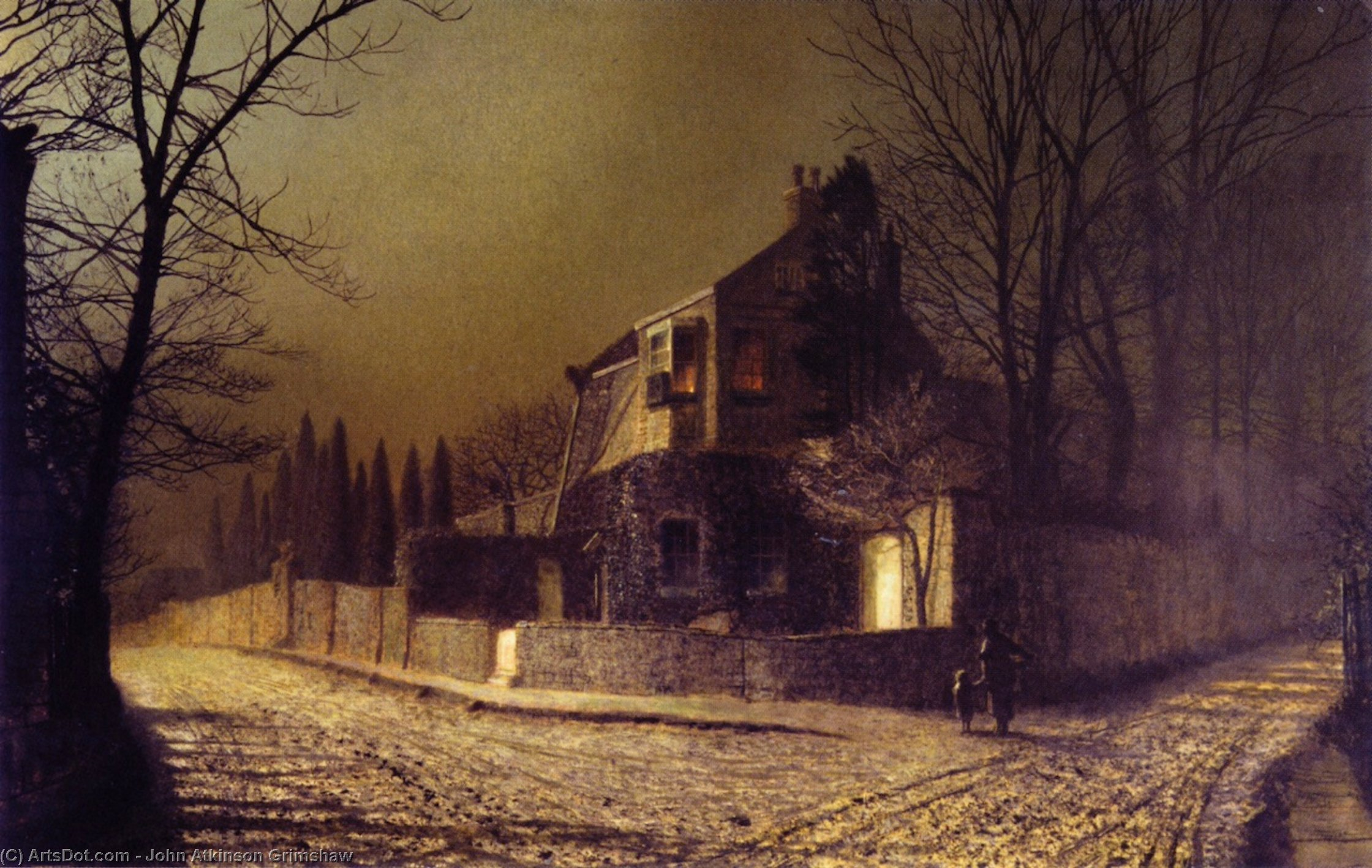 Yew Court, Scalby, near Scarborough, Oil On Panel by John Atkinson Grimshaw (1836-1893, United Kingdom)