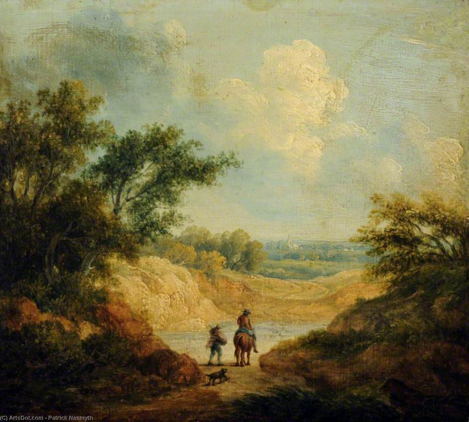 Landscape With A Figure On Horseback, And A Fellow Traveller On Foot by Patrick Nasmyth (1787-1831, United Kingdom)