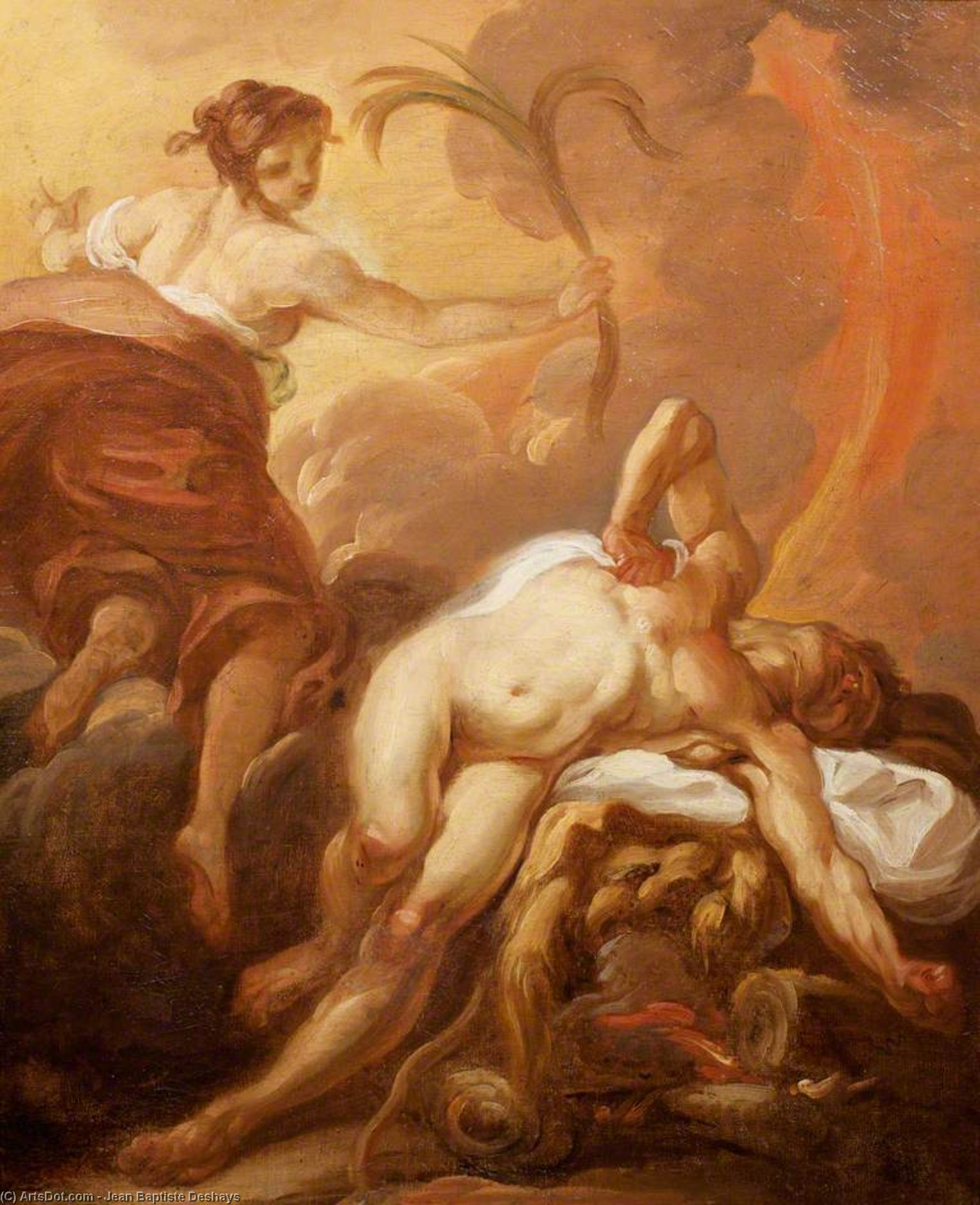 Death Of Hercules by Jean Baptiste Deshays (1729-1765, France)