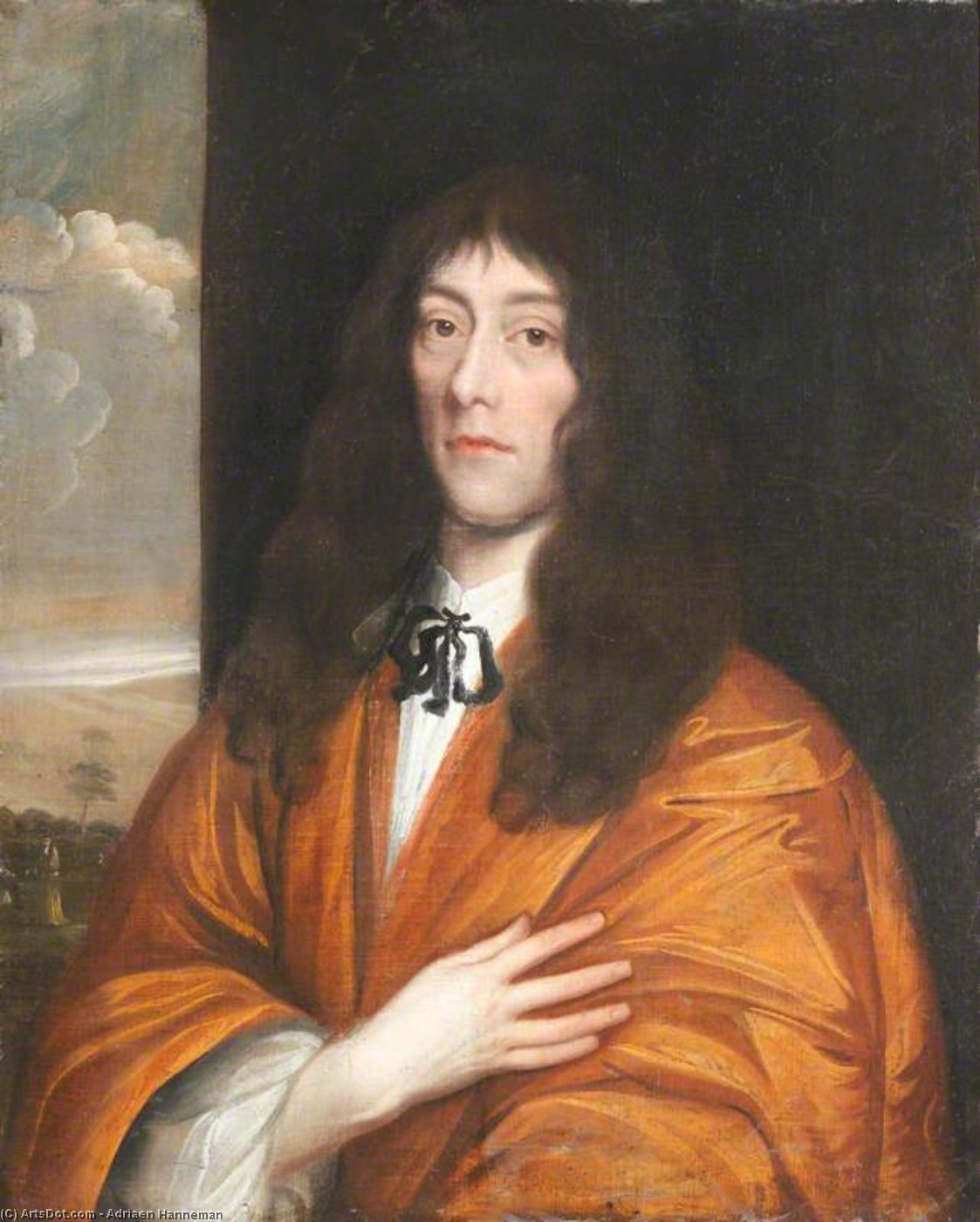 Portrait Of An Unknown Poet In An Orange Cloak With Hand On Heart by Adriaen Hanneman (1603-1671, Netherlands)