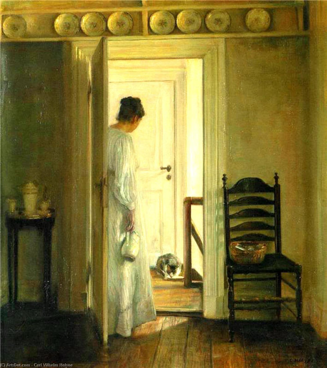 A Lady And A Cat Drinking Milk by Carl Vilhelm Holsoe (1863-1935, Denmark)