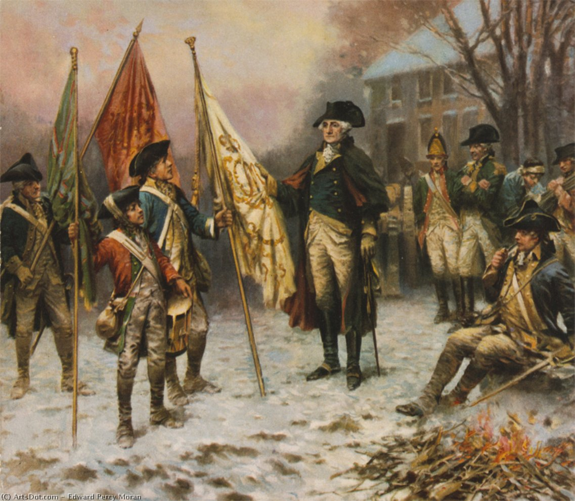 Washington Inspecting The Captured Colors After The Battle Of Trenton by Edward Percy Moran (1829-1901, United Kingdom)