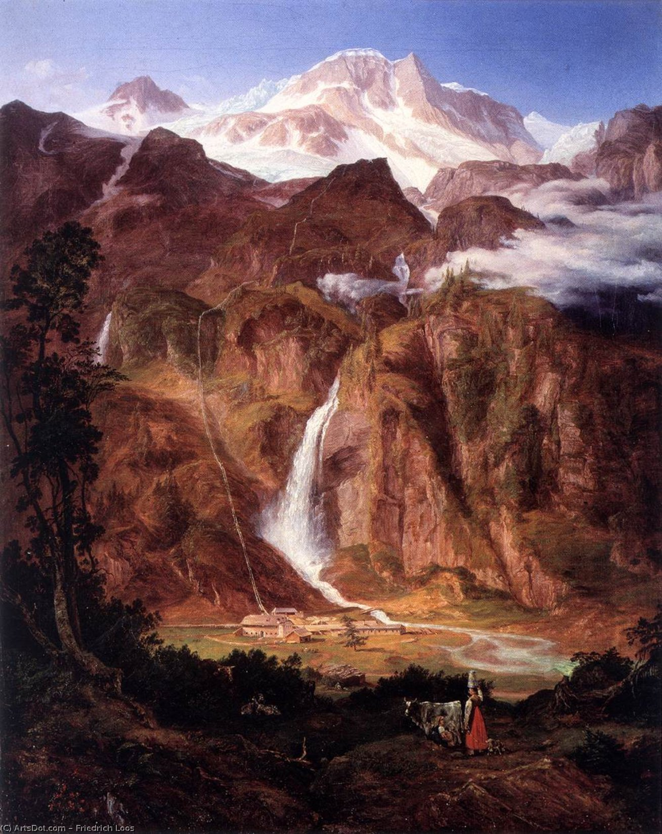 Kolm Saigurn In The Rauris Valley With The Sonnblick by Friedrich Loos (1797-1890, Austria)