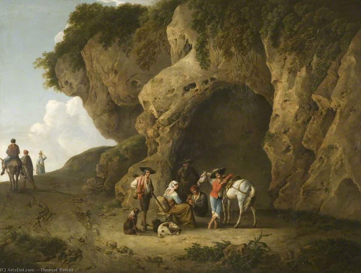 Cavern Scene Near Subiaco, With Figures by Thomas Barker (1769-1847, United States)