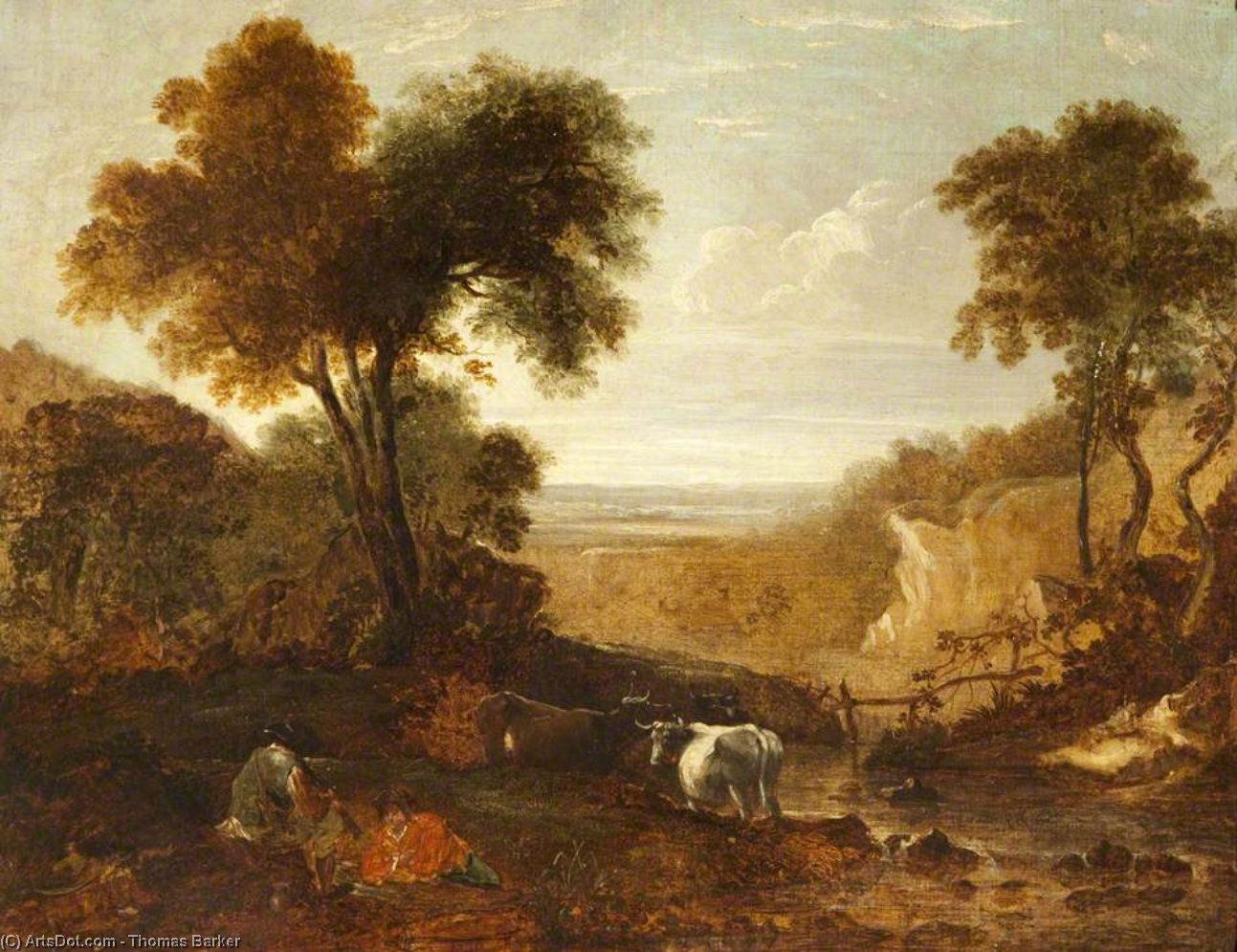 Landscape With Figures And Cattle by Thomas Barker (1769-1847, United States)
