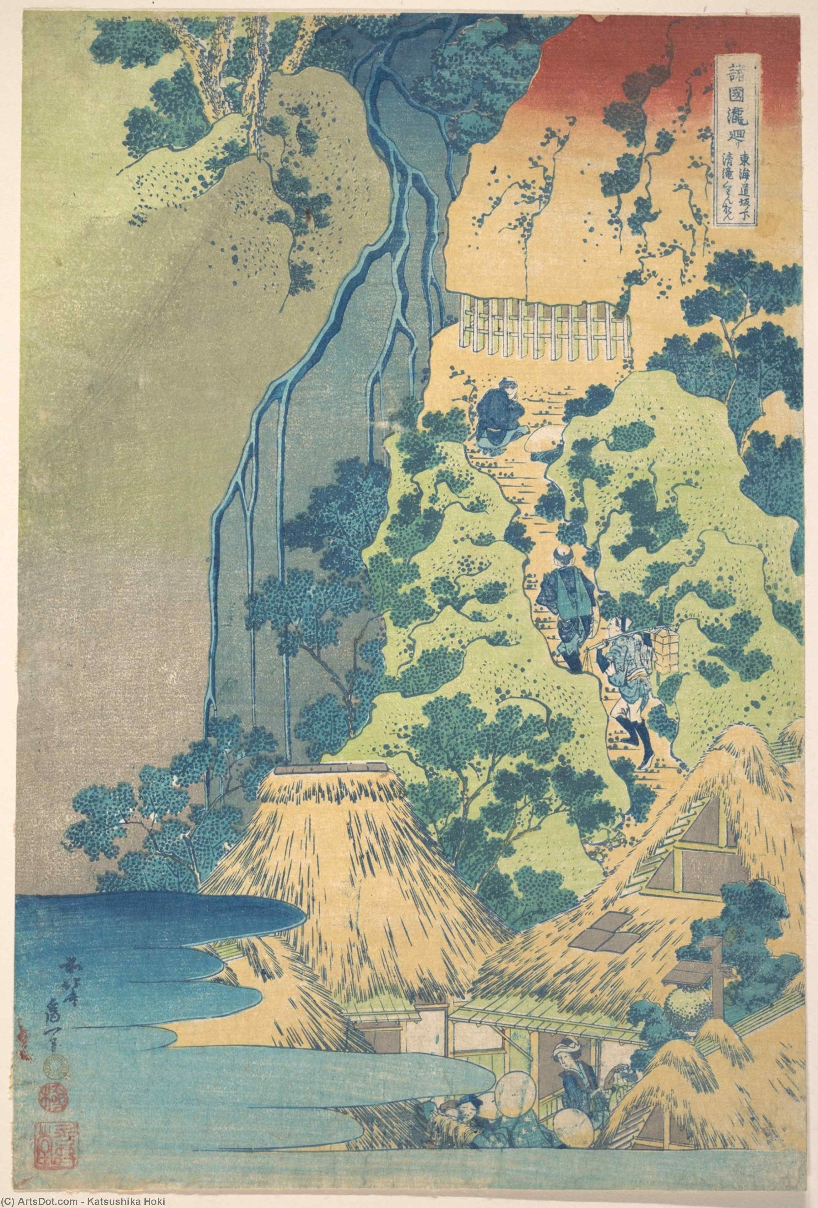 Kiyotaki Kannon Waterfall At Sakanoshita On The Tôkaidô by Katsushika Hokusai (1760-1849, Japan) | Oil Painting | ArtsDot.com
