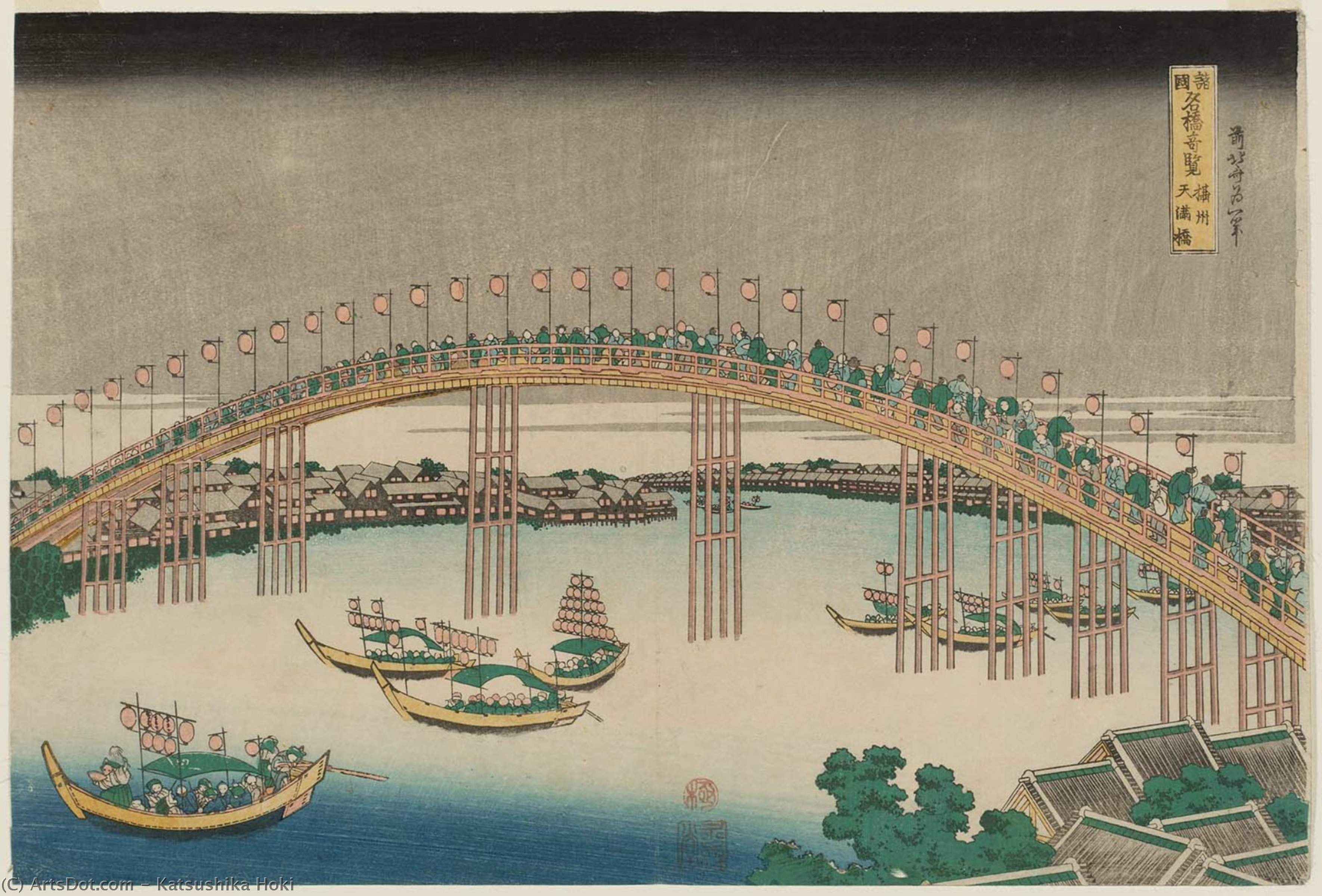 The Tenman Bridge In Settsu Province by Katsushika Hokusai (1760-1849, Japan) | ArtsDot.com
