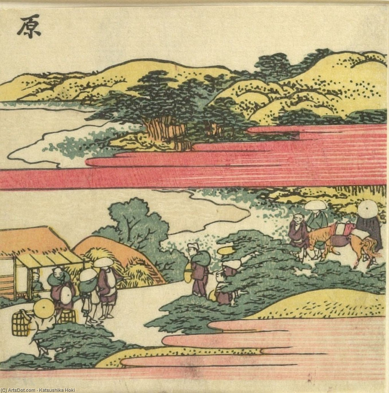 Travelers On A Hill Looking Down At The Thousand Pine Beach by Katsushika Hokusai (1760-1849, Japan) | Museum Quality Reproductions | ArtsDot.com
