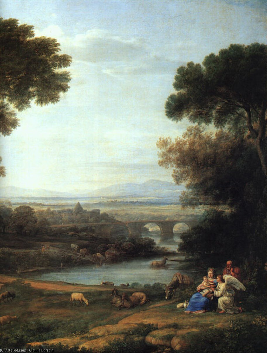 The Rest on the Flight into Egypt (detail) by Claude Lorrain (Claude Gellée) | Oil Painting | ArtsDot.com