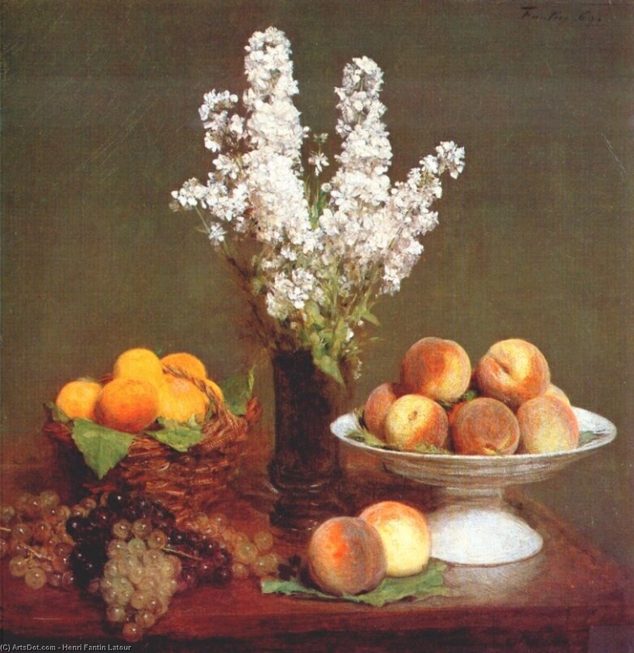 white rockets and fruit, 1869 by Henri Fantin Latour (1836-1904, France)